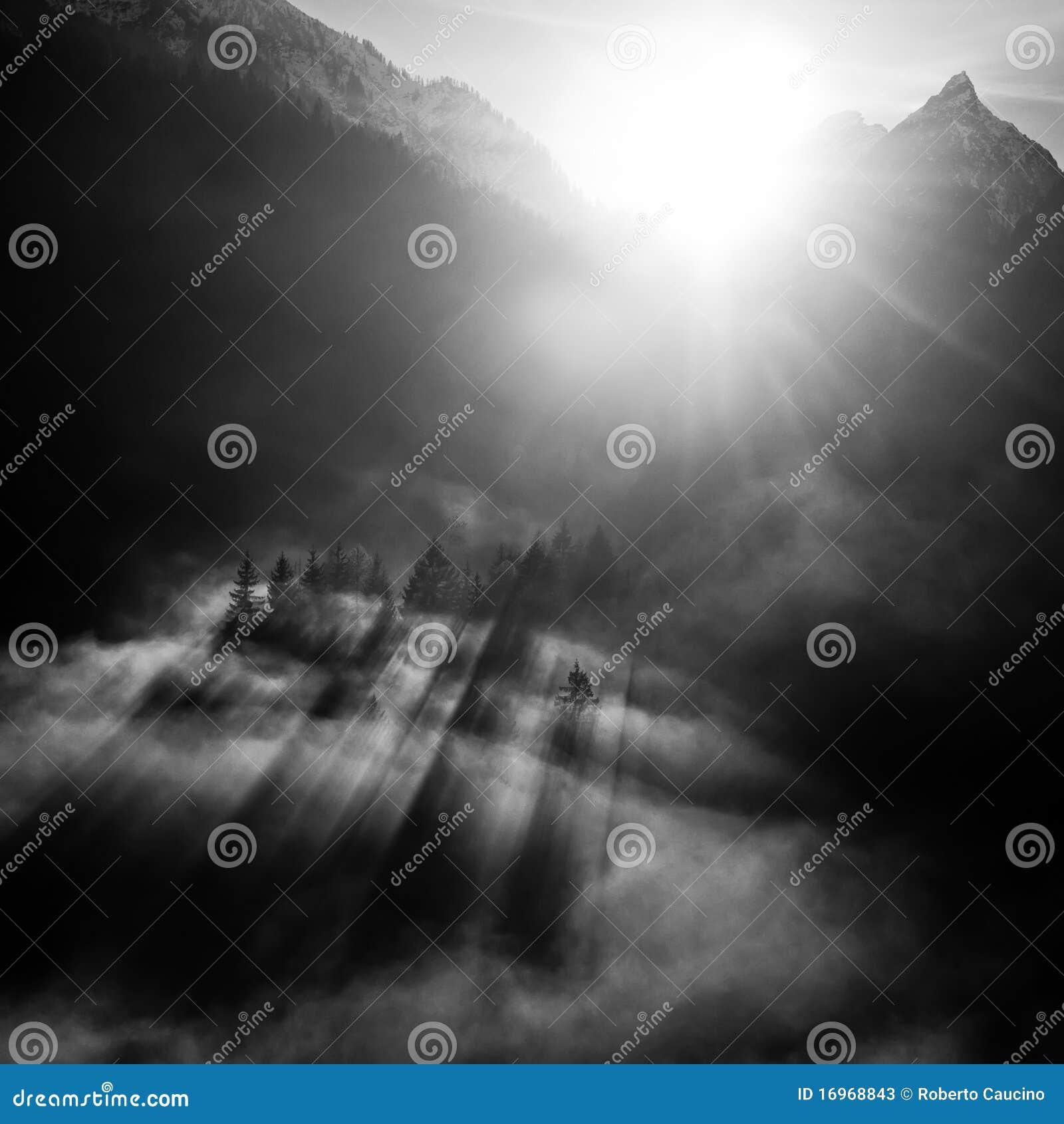 Zwart-wit berglandschap
