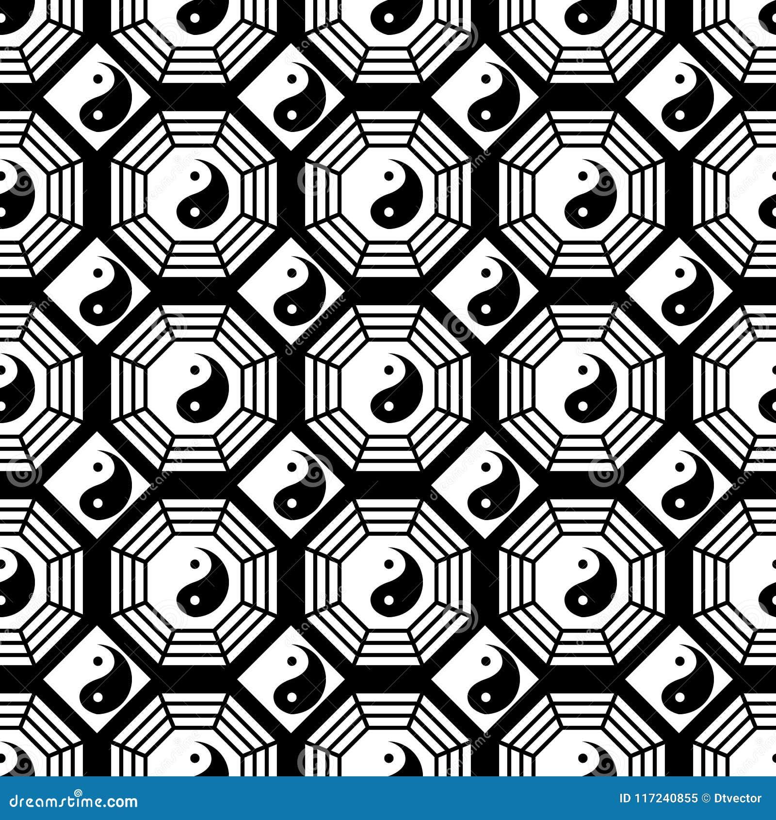 Zwart-wit de symmetrie naadloos patroon van Taiji Bagua