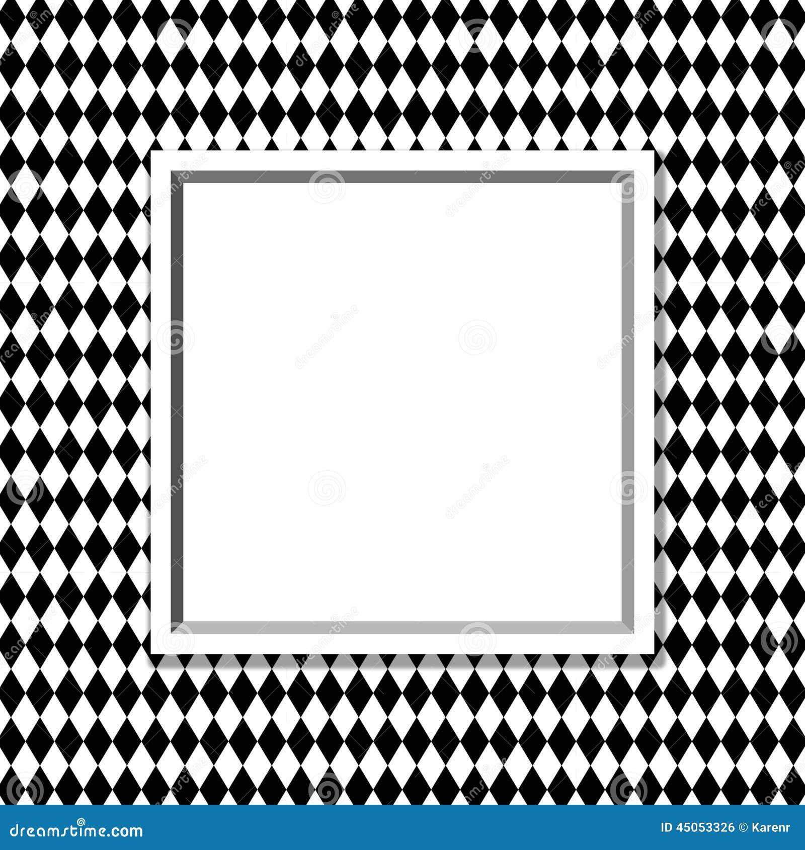zwart-wit diamond background met kader stock foto - afbeelding