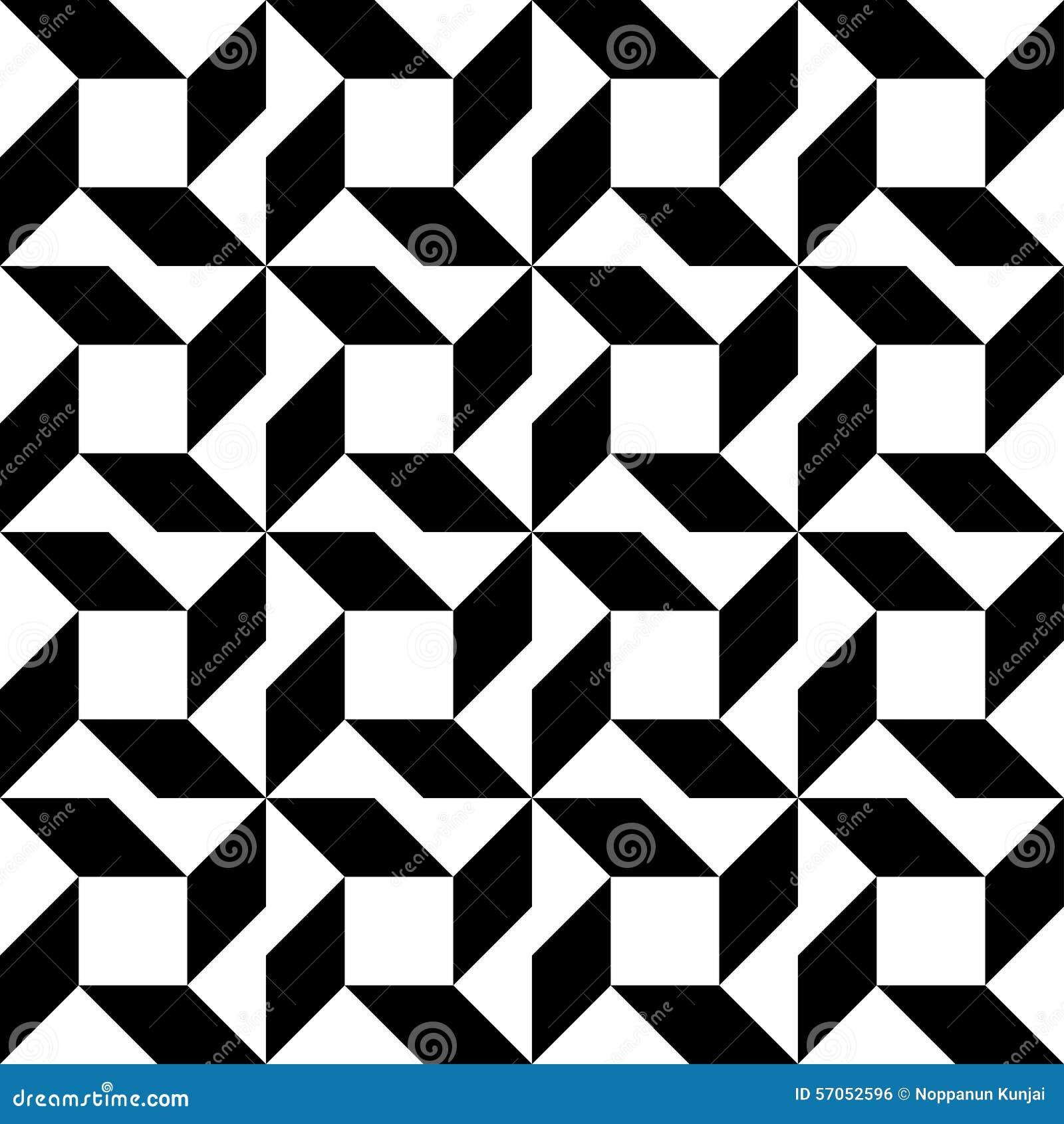 Zwart-wit geometrisch naadloos patroon, abstracte achtergrond