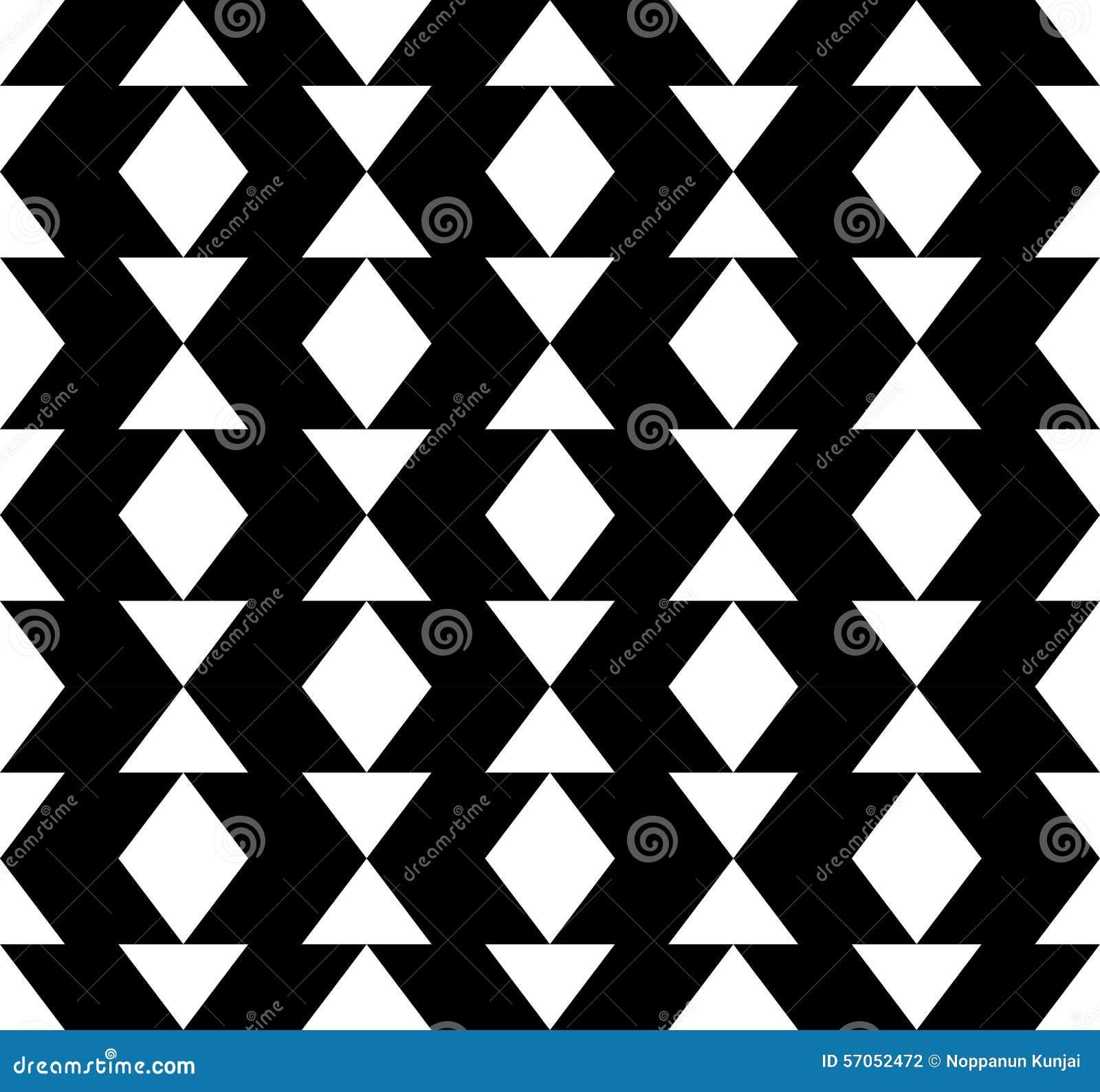 Zwart-wit geometrisch naadloos patroon met driehoek en tra
