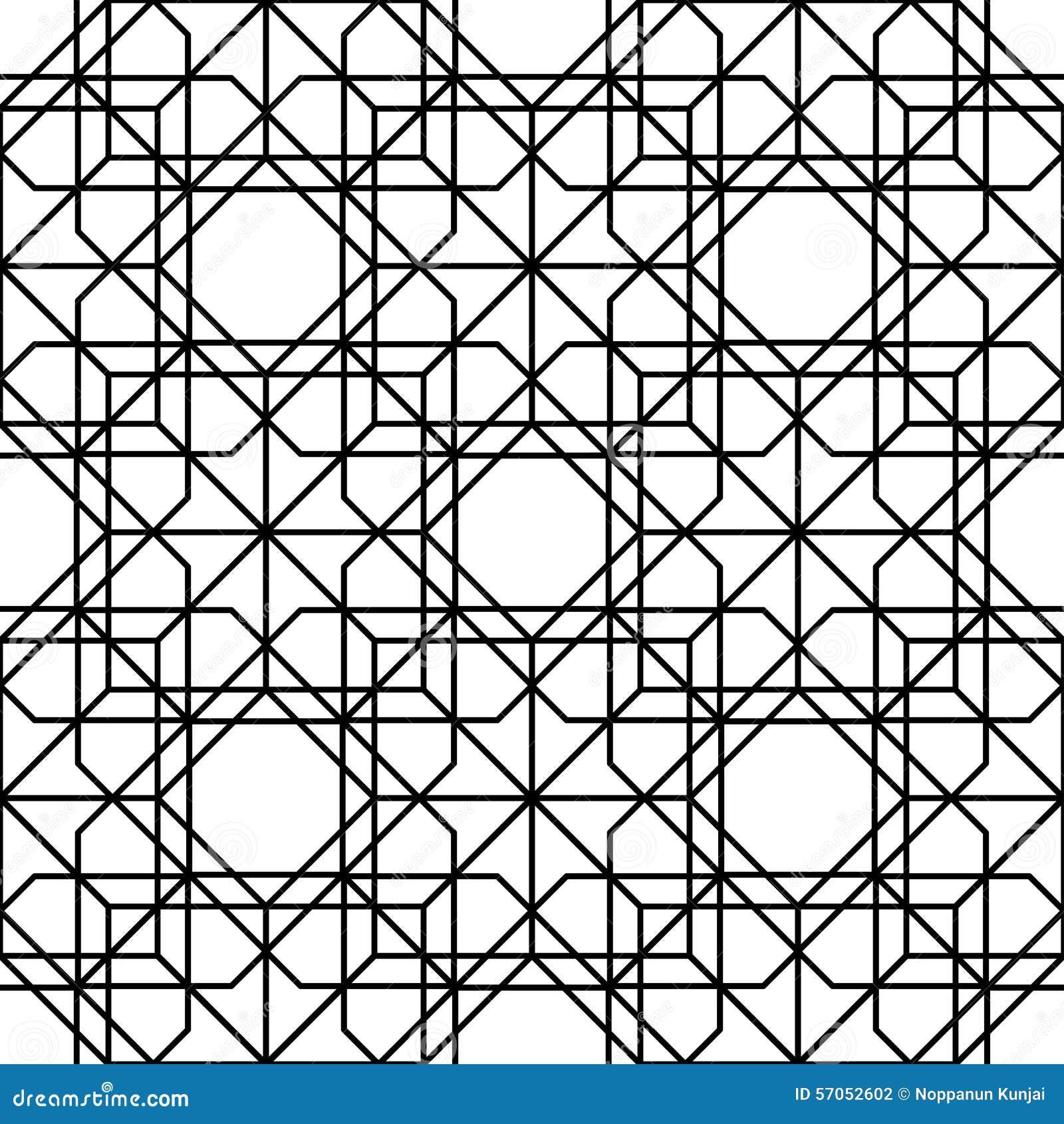 Zwart-wit geometrisch naadloos patroon met lijn, abstracte B