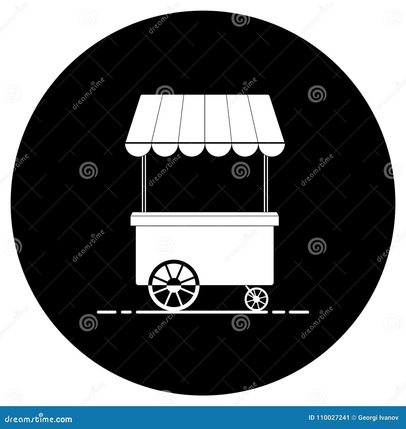Zwart-wit het silhouetpictogram van de voedselkar Rondschrijven, wit op zwarte