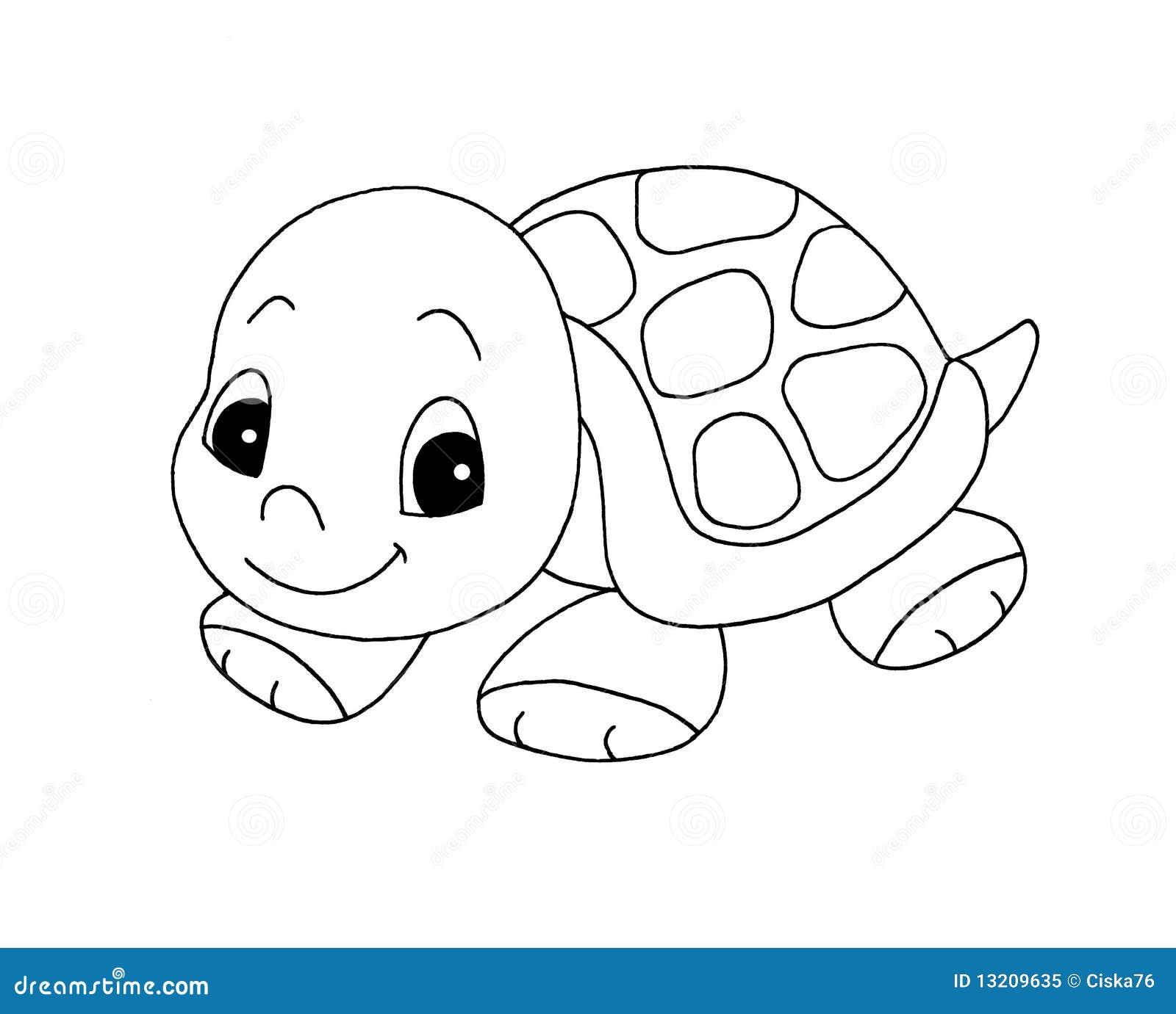 Zwart-wit - Leuke Schildpad Stock Illustratie ...