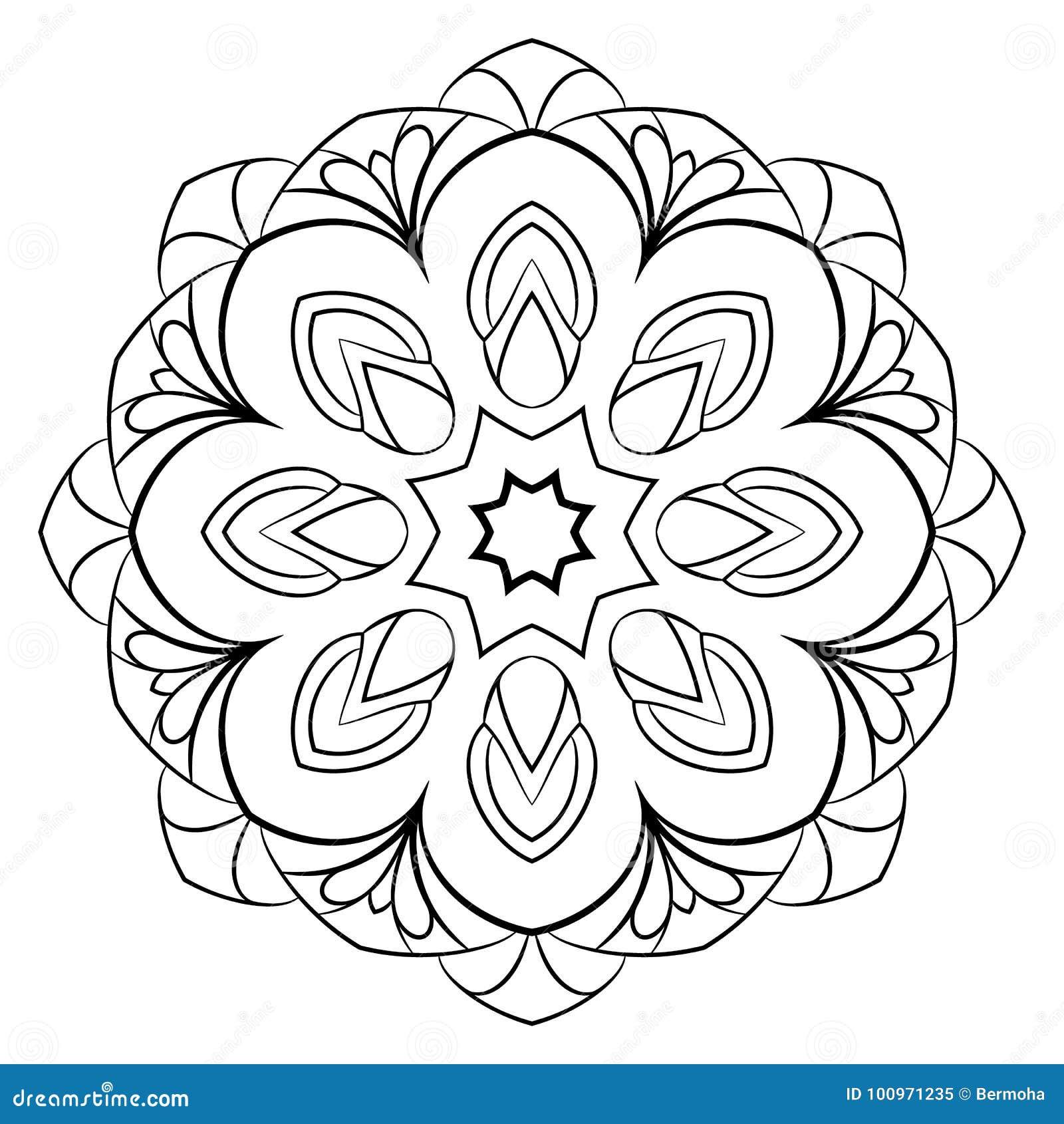 2c2eae11ee9 Zwart-wit Mandala Een Het Herhalen Patroon In De Cirkel Vector ...