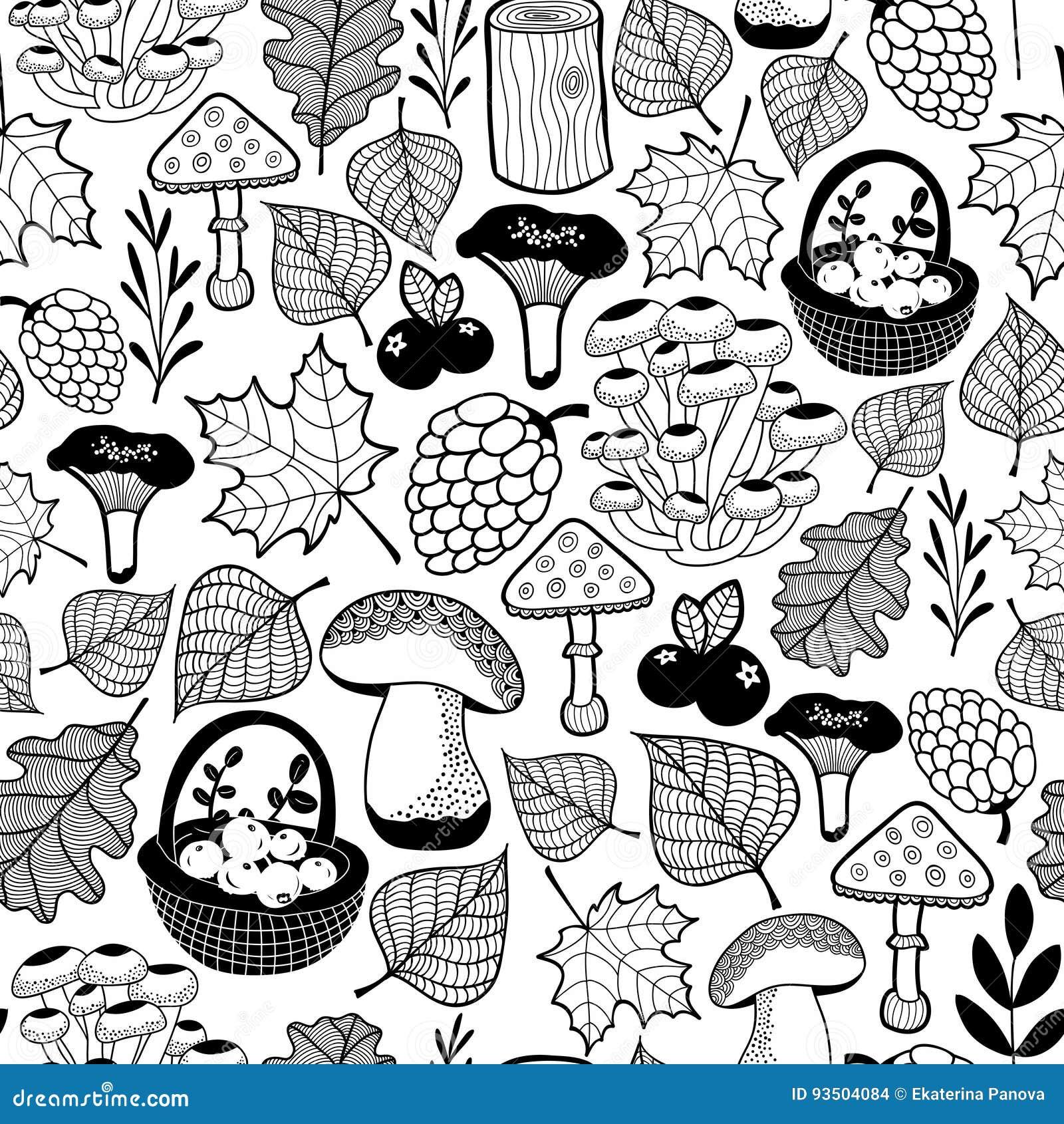 Zwart-wit naadloos patroon met de herfst bosgiften