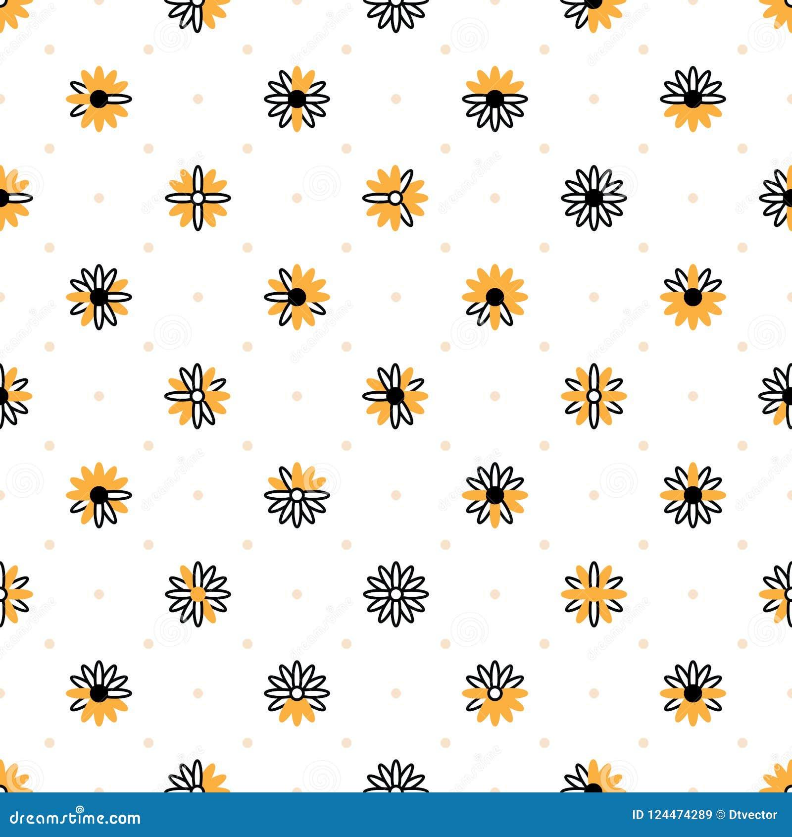 Zwart wit oranje de symmetrie naadloos patroon van het chrysantensymbool