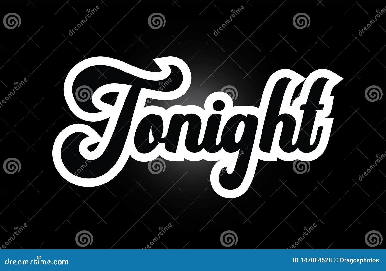 Zwart-wit overhandig vanavond geschreven woordteksten voor het pictogramontwerp van het typografieembleem