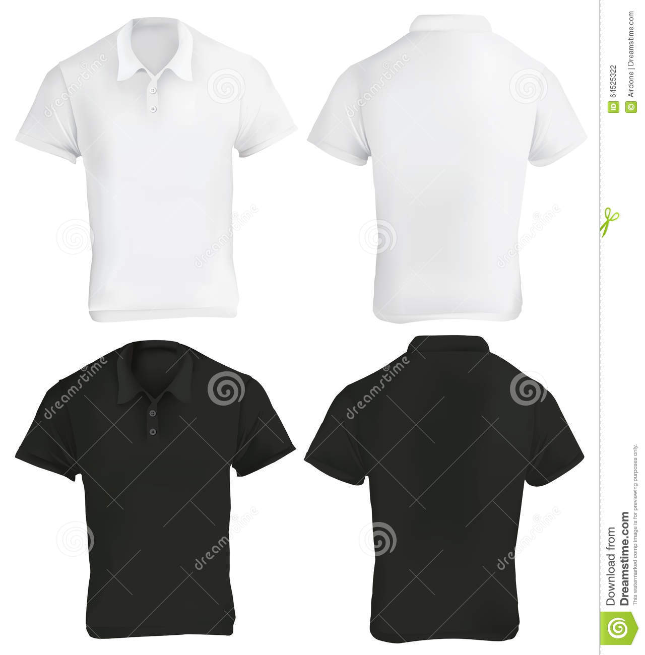 Zwart wit polo shirt design template vector illustratie for Polo shirt design template