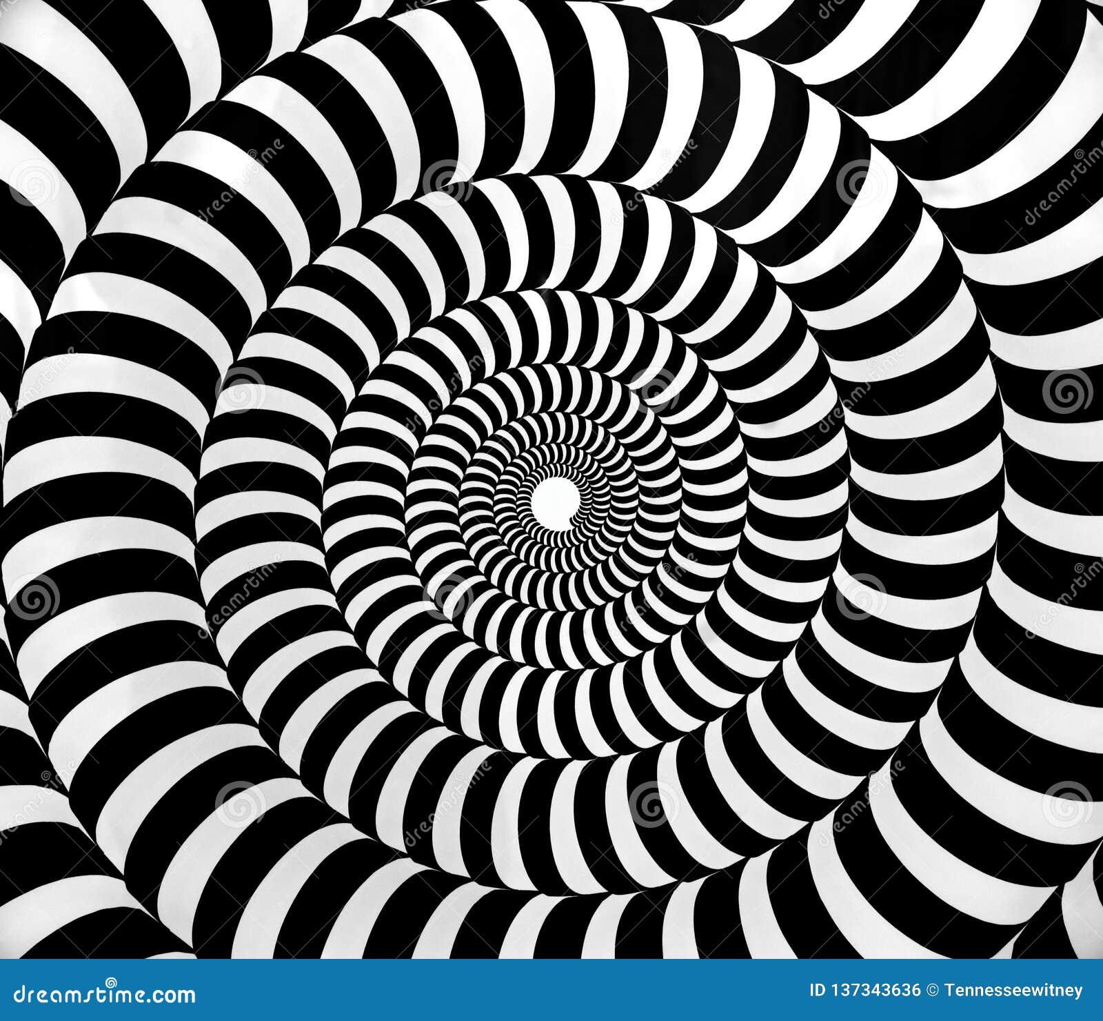 Zwart-wit psychedelisch hypnotic wervelingspatroon