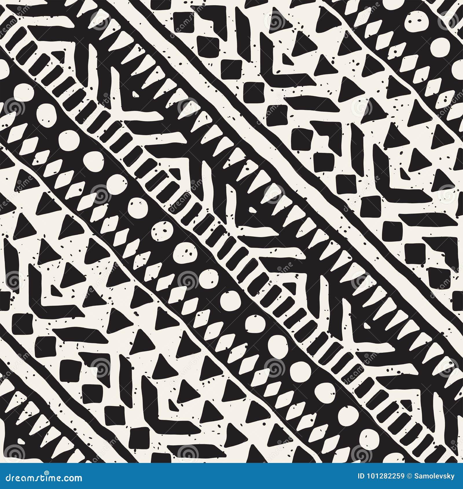 Zwart-wit stammen vector naadloos patroon met krabbelelementen Azteekse abstracte kunstdruk Etnische sierhand