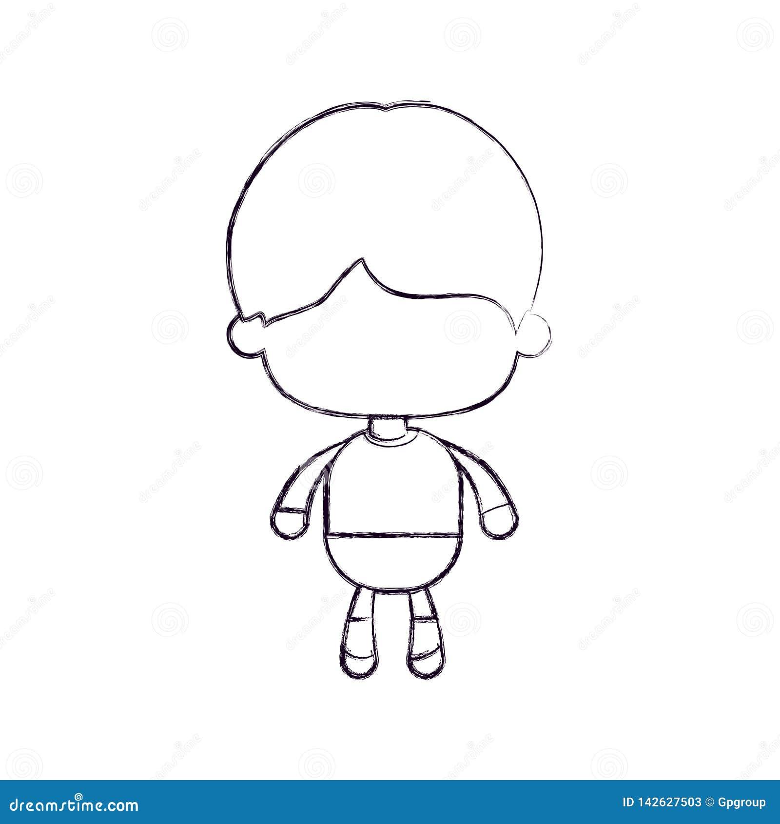 Zwart-wit vaag silhouet van anoniem weinig jongen met kort haar