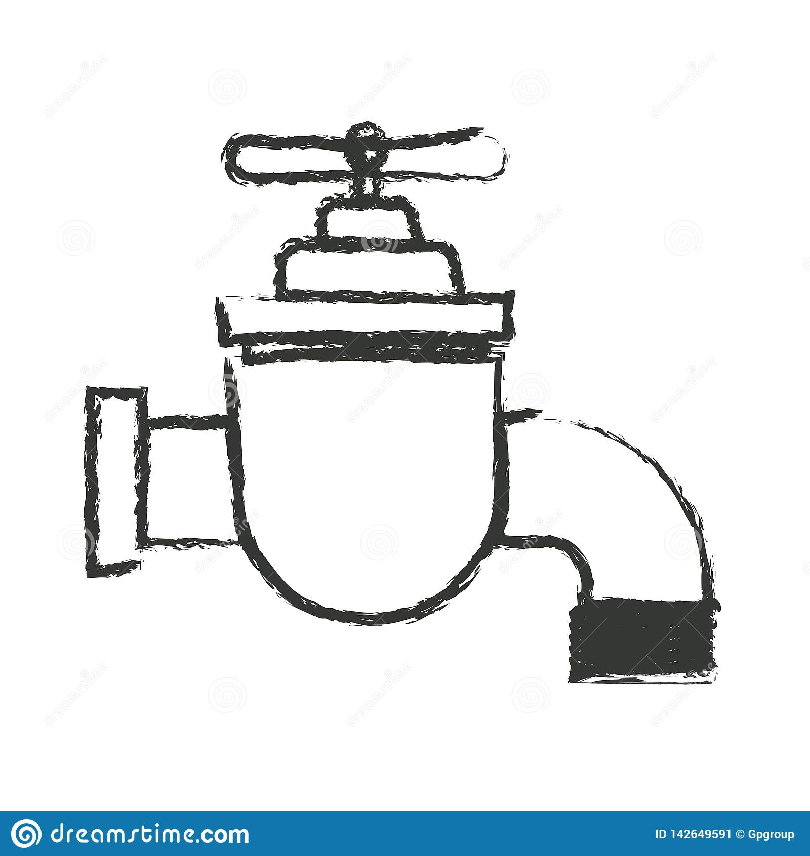 Zwart-wit vaag silhouet van tapkraanpictogram