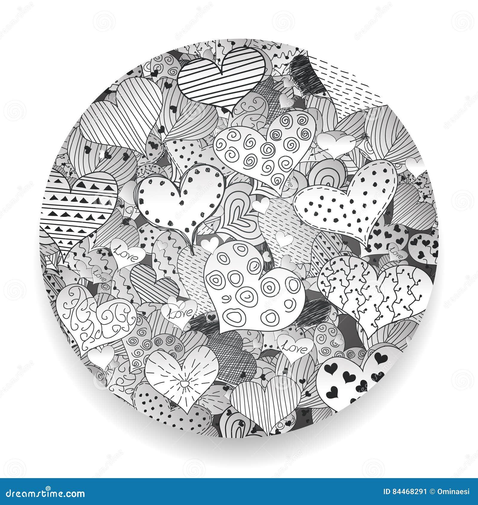 Zwart-wit Valentine Day Pattern Sketch Romantic-Retro de Krabbelspictogrammen van Liefdeharten Geplaatst Geïsoleerde Vectorillust
