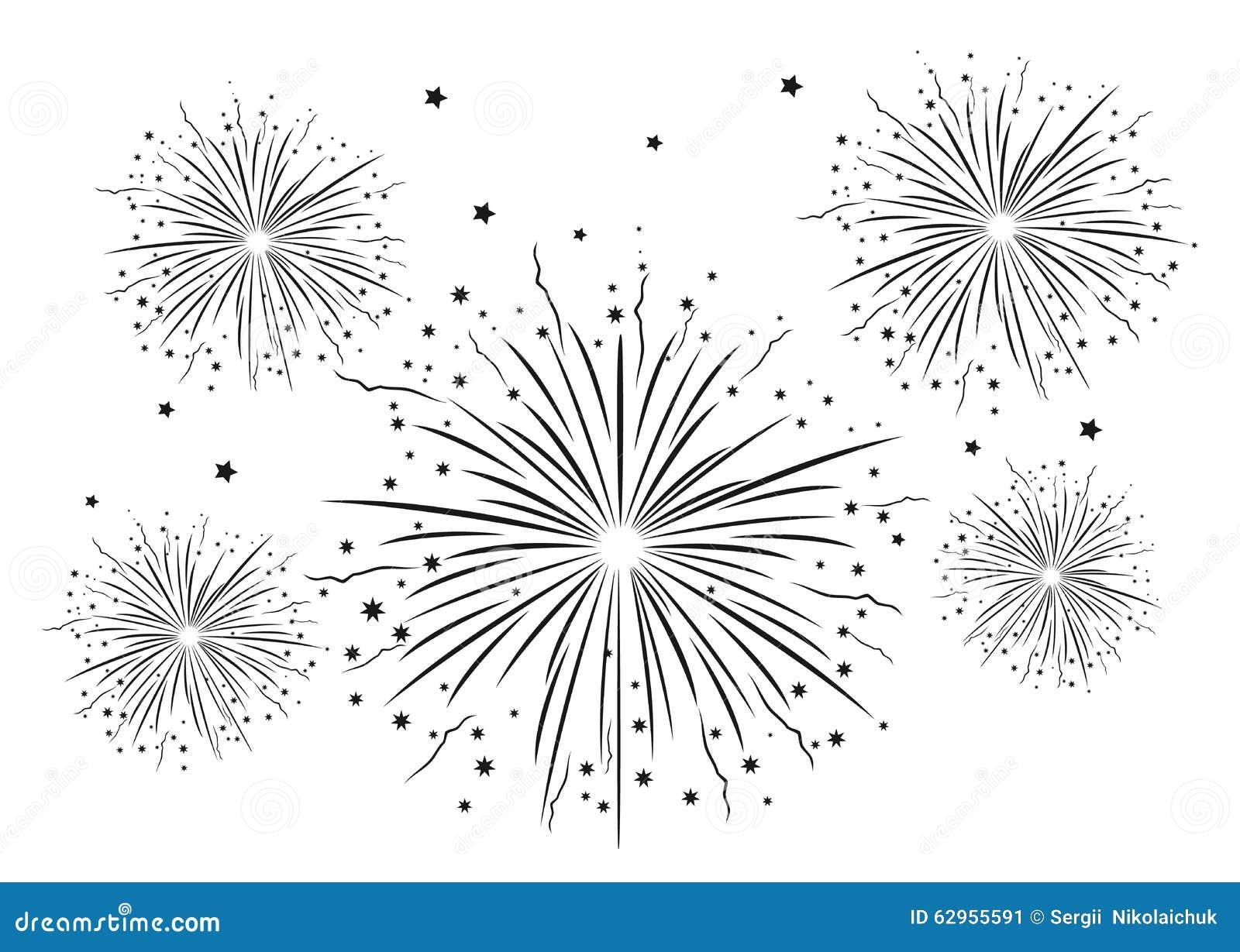 Zwart Wit Vuurwerk Vector Illustratie Illustratie