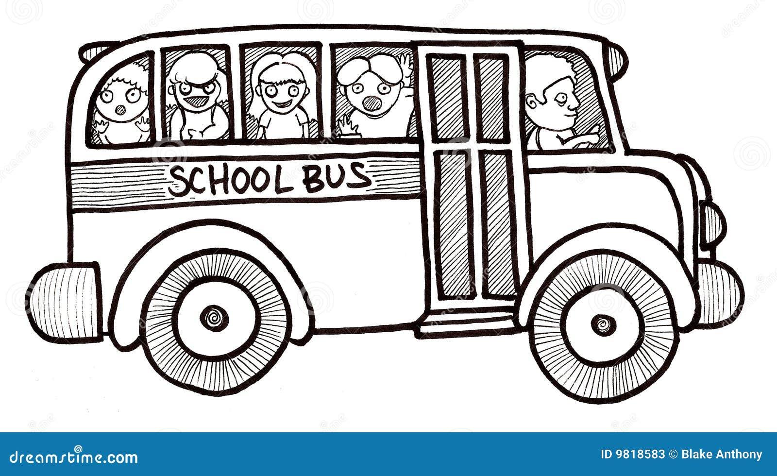 88465b984bc Zwart-witte De Kinderen Van De Bus Van De School Stock Illustratie ...