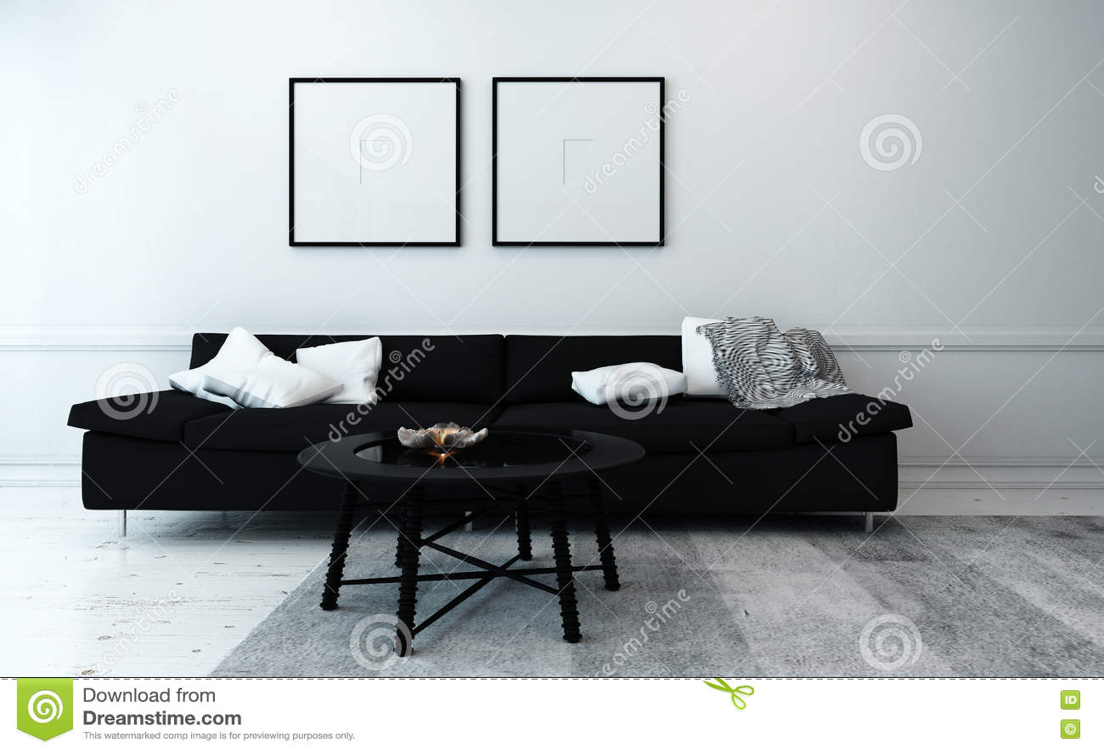 Zwart witte eigentijdse woonkamer stock foto afbeelding