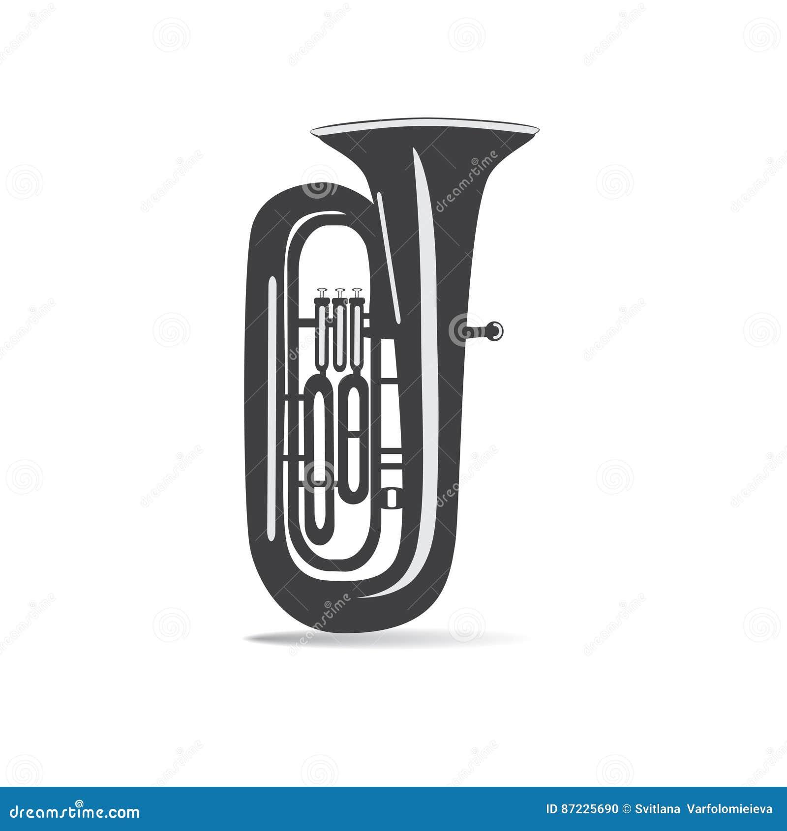 Zwart-witte geïsoleerde tuba, vectorillustratie