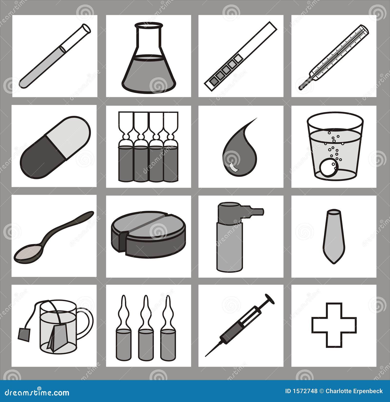 Zwart-witte gezondheidszorg iconset