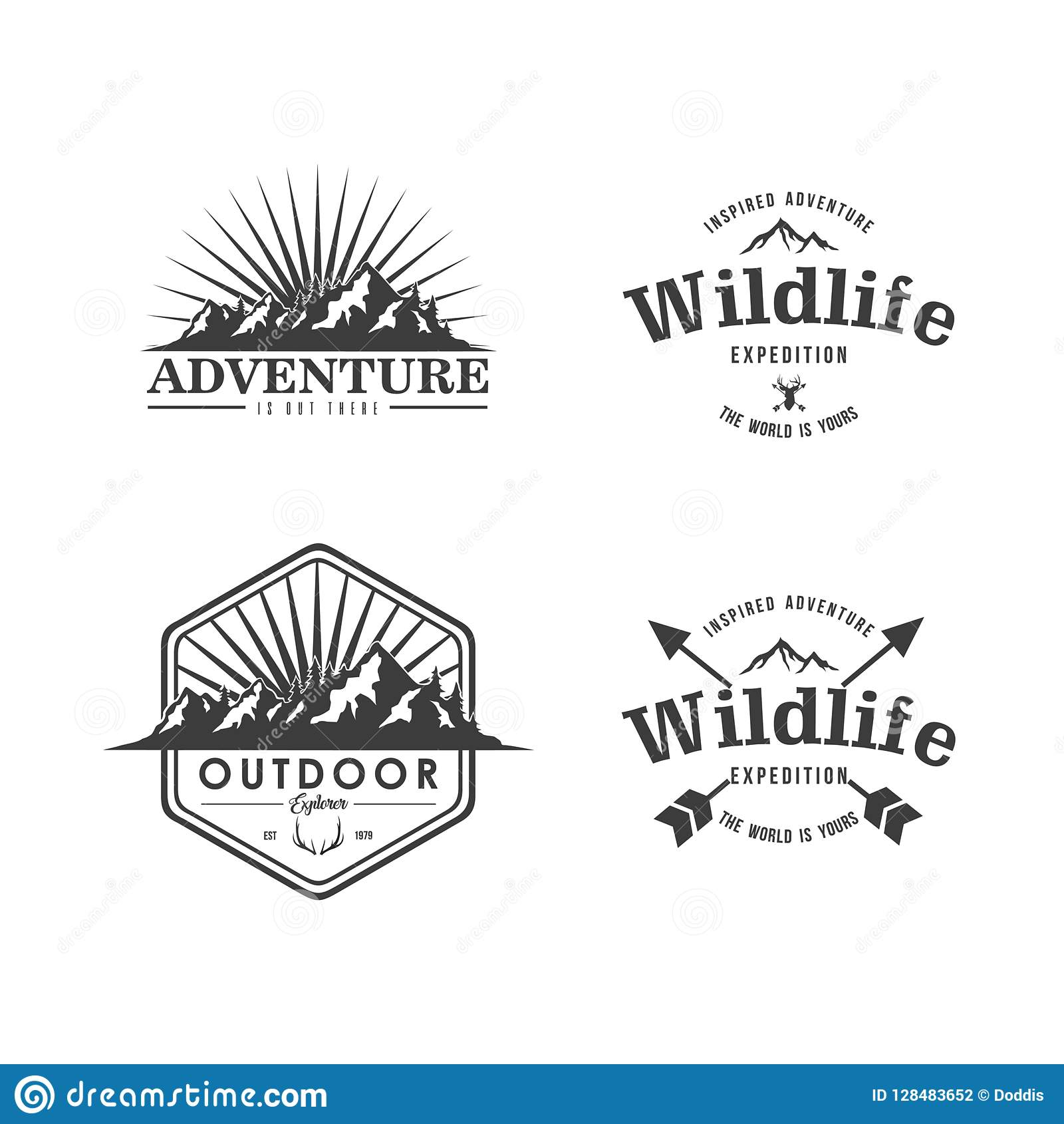 Zwart-witte het Ontwerpreeks van Adventure Badge Vector van de Bergontdekkingsreiziger