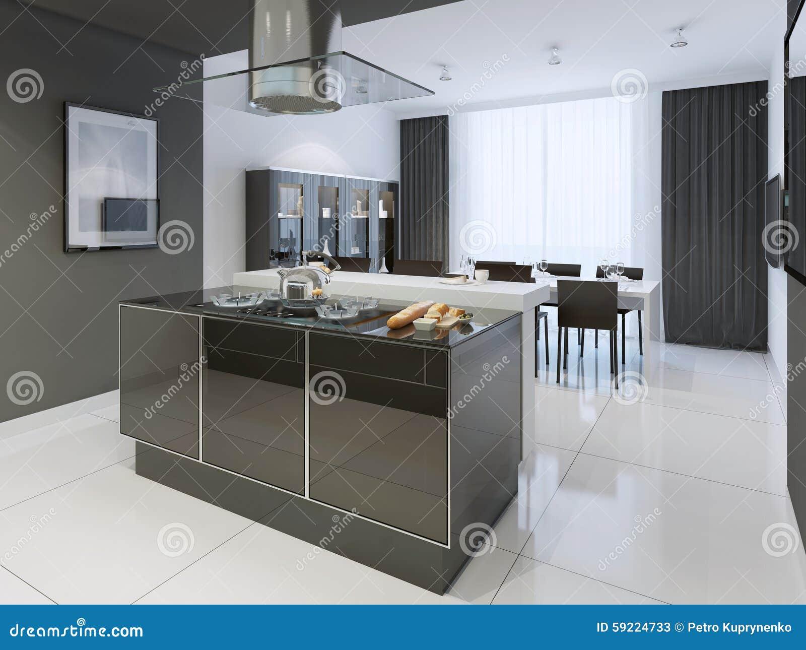 Zwart witte keuken moderne stijl stock afbeelding afbeelding