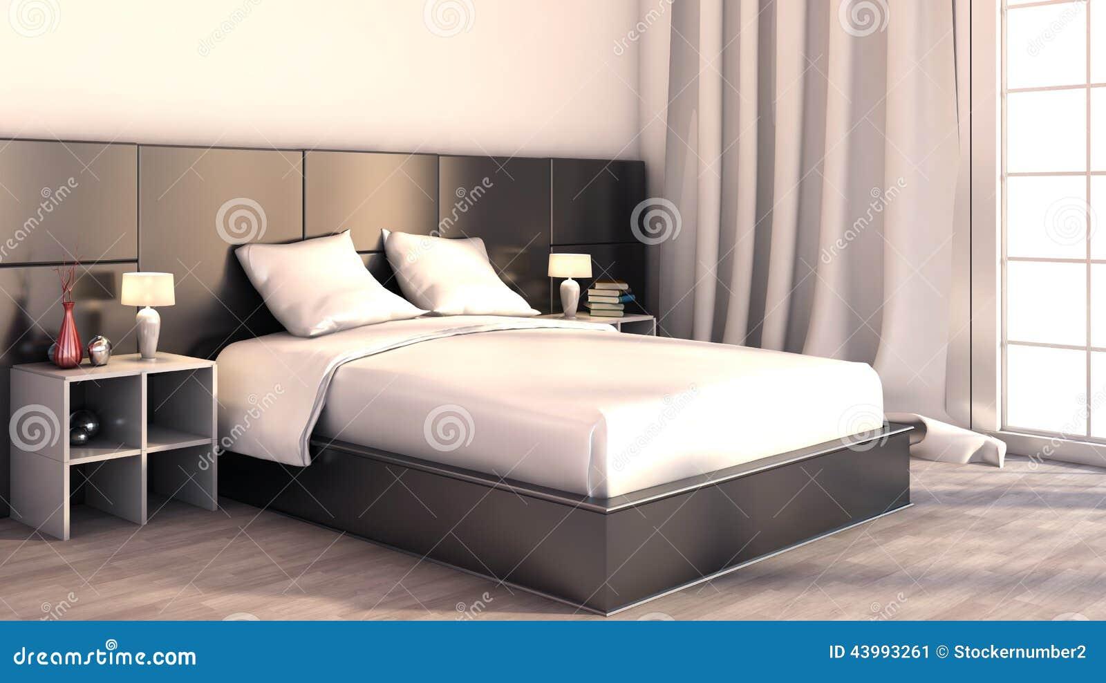Luxueuze Zwart-witte Slaapkamer Royalty-vrije Stock Foto ...