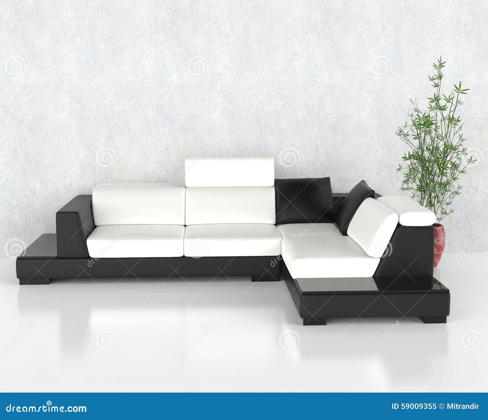 Zwart-witte Moderne Woonkamer Stock Foto - Afbeelding: 59009355