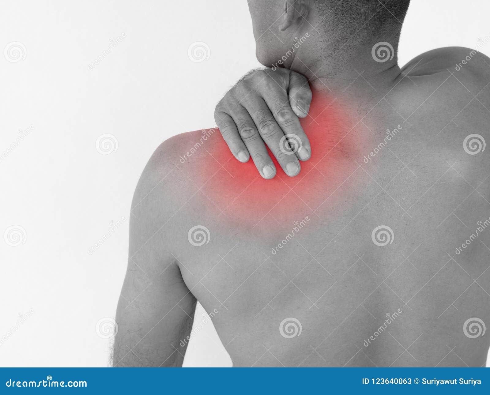 Zwart-witte Pijn in de hals Mens met rugpijn geïsoleerde