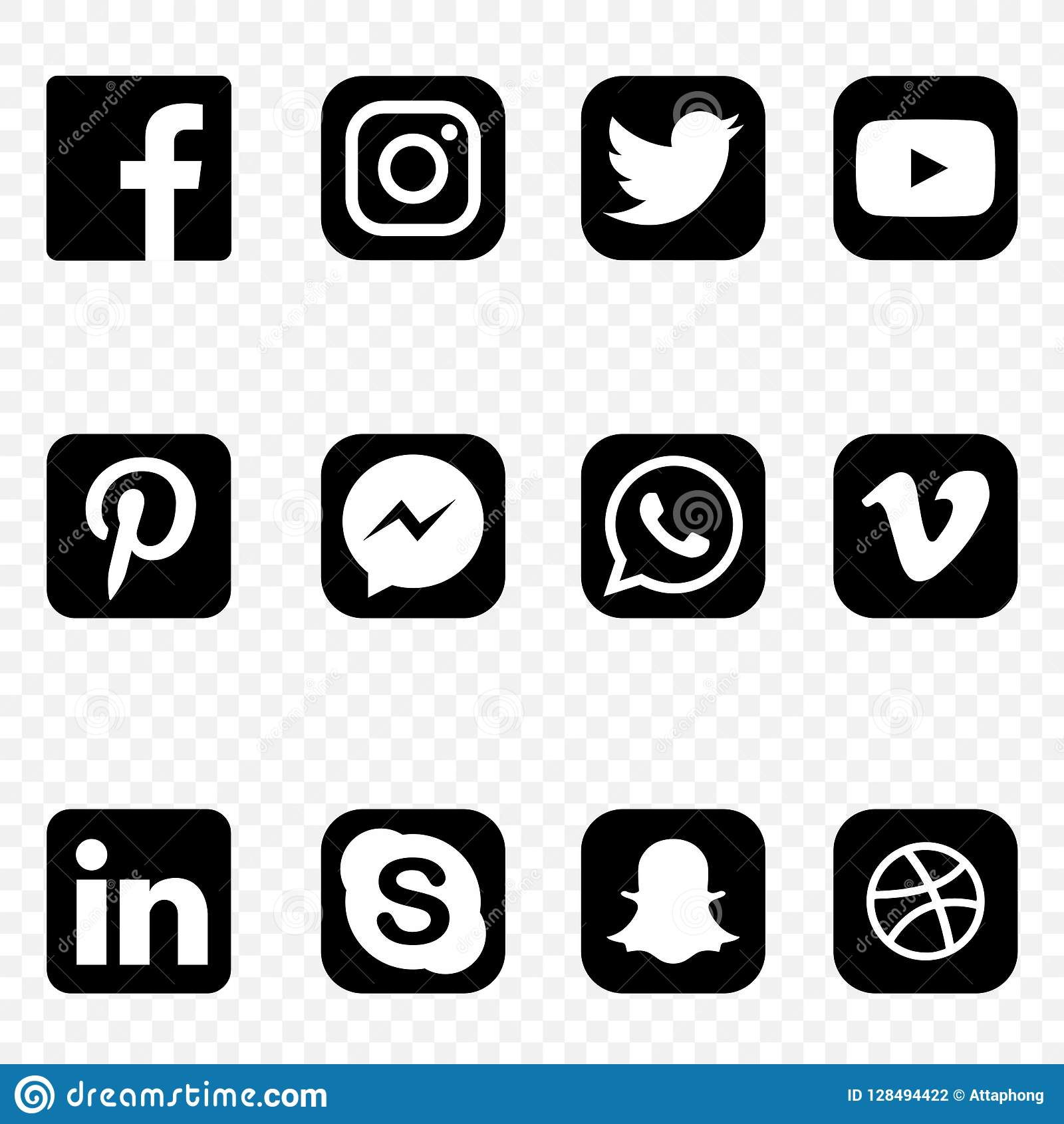 Zwart-witte Sociale media Pictogrammen op transparante hoge vector als achtergrond - kwaliteitsreeks