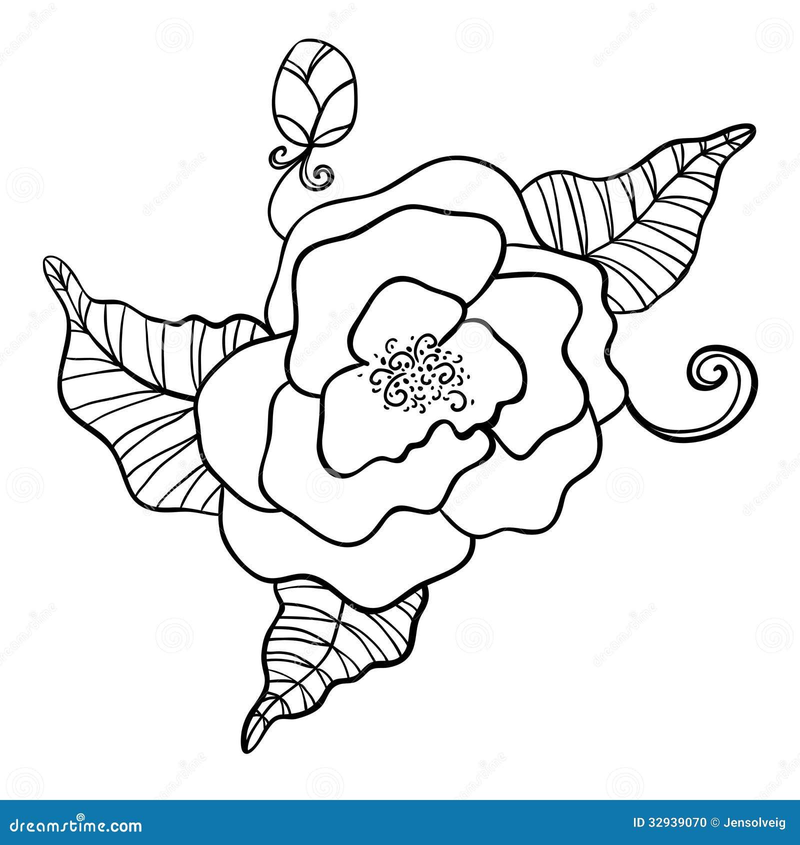 Zwart witte tekening van bloem stock foto afbeelding - Dessin de fleur en noir et blanc ...