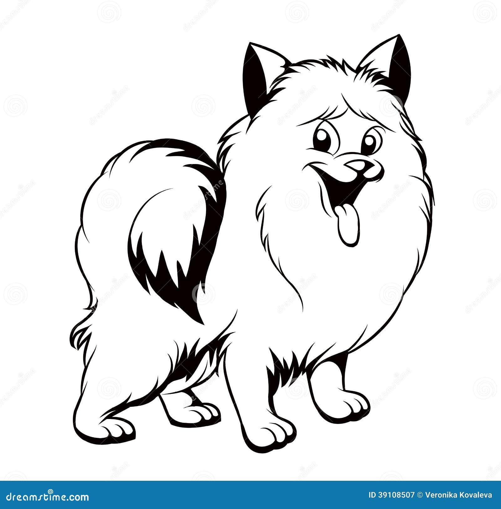 Zwart Witte Tekening Van De Hond Vector Illustratie
