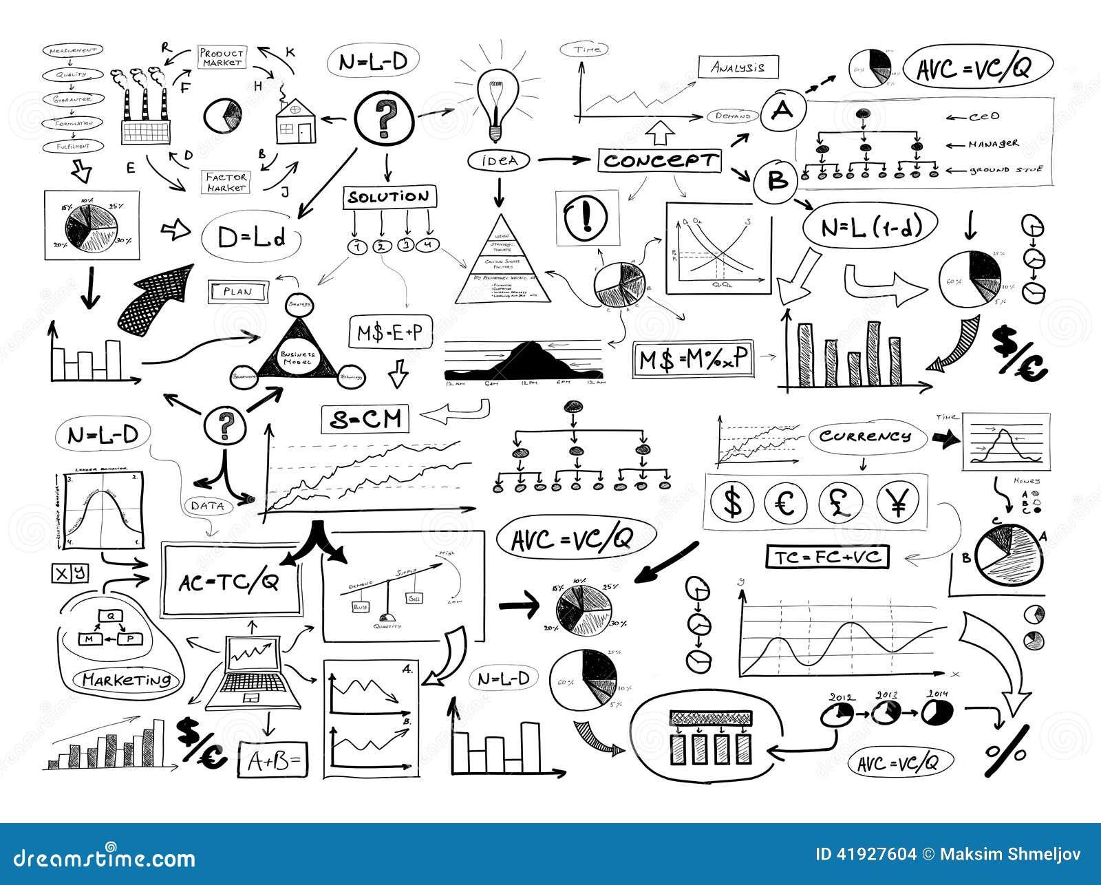 Zwart-witte tekening van vele verschillende bedrijfselementen vin