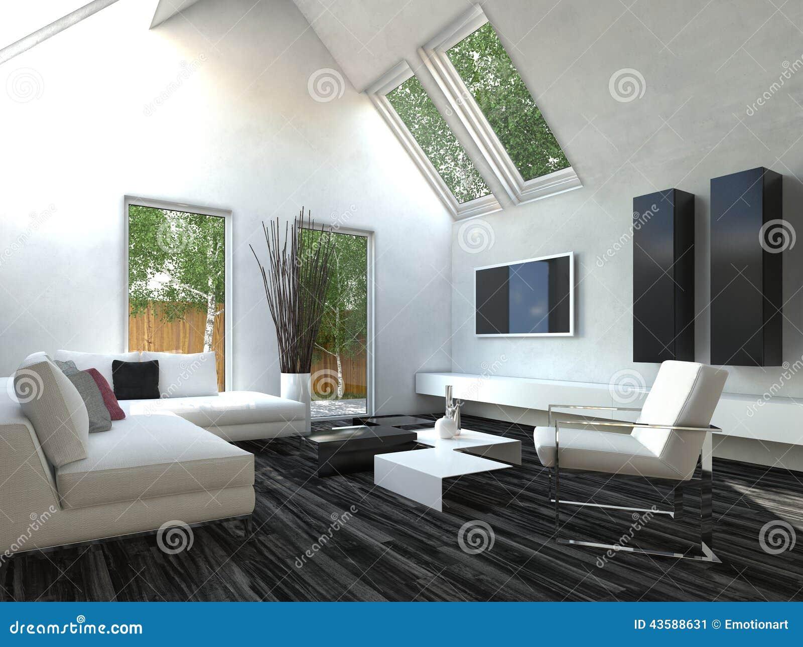 Zwart-witte Woonkamer Stock Illustratie - Afbeelding: 43588631