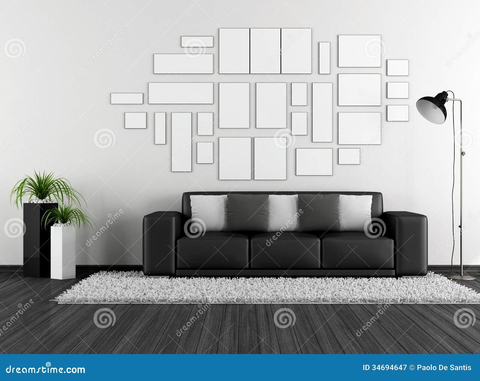 ... Stock Fotografie: Zwart-witte woonkamer met moderne laag en leeg kader