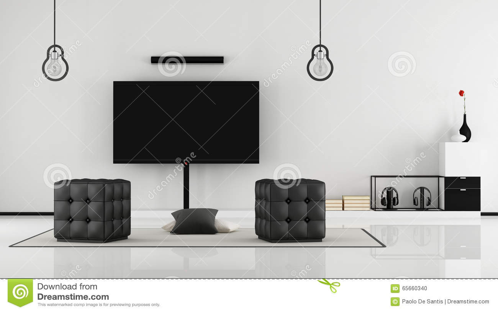 Zwart-witte Woonkamer Met TV-reeks Stock Illustratie - Illustratie ...