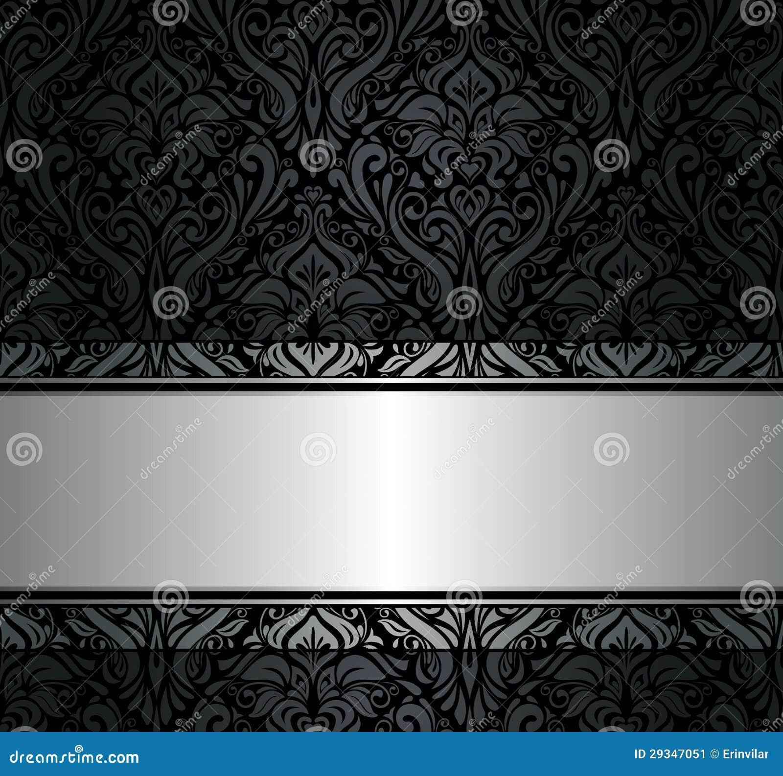 Zwart & zilveren uitstekend behang