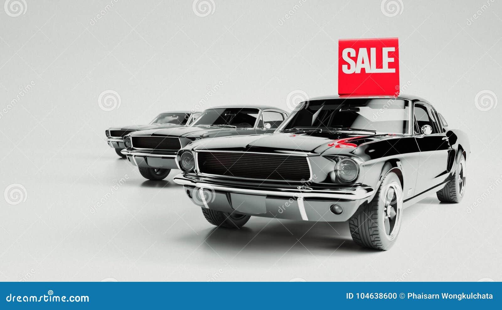 Download Zwarte Auto En Aanplakbordverkoop Stock Illustratie - Illustratie bestaande uit rendering, geïsoleerd: 104638600