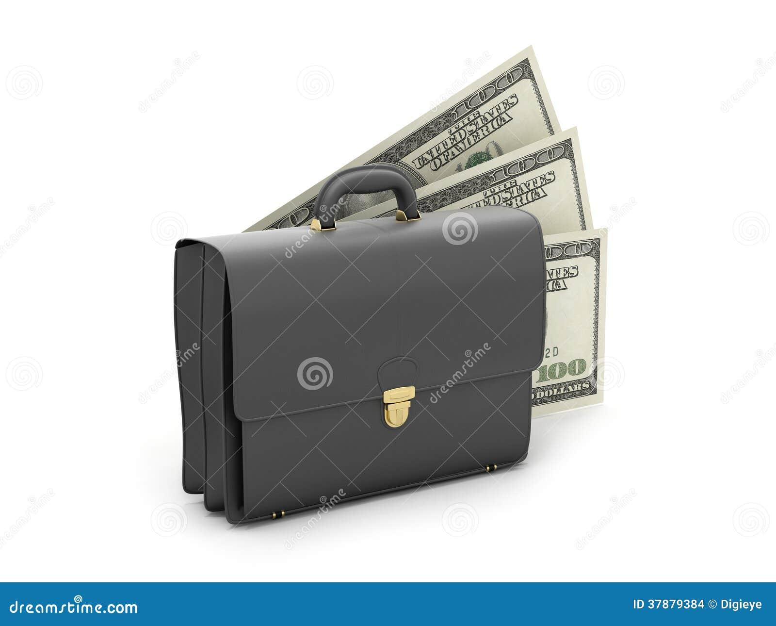 Zwarte bedrijfsaktentas en dollarrekeningen