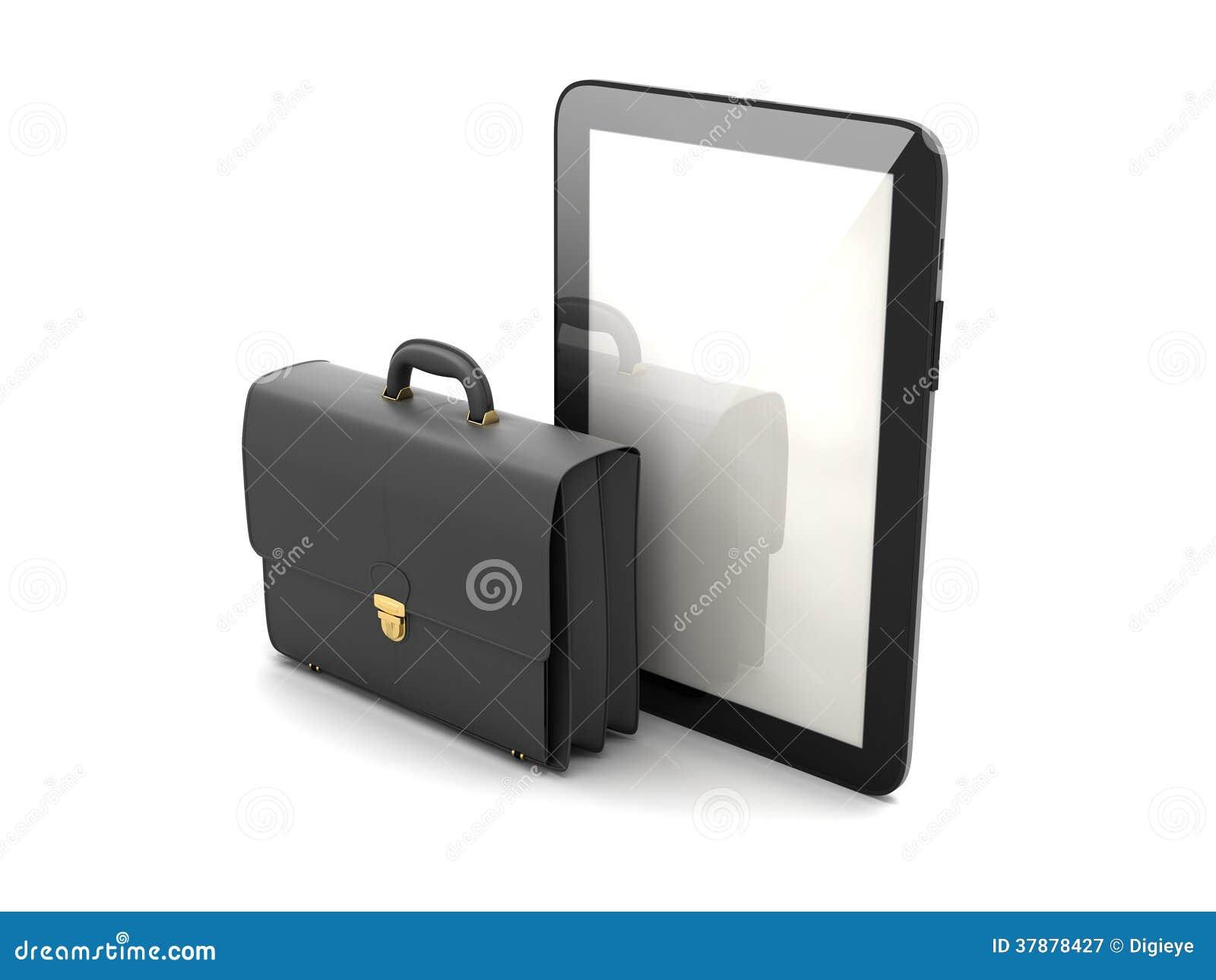 Zwarte bedrijfsaktentas en moderne tabletcomputer