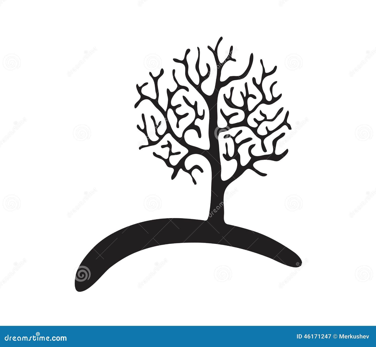 zwarte boom zonder bladeren vector vector illustratie