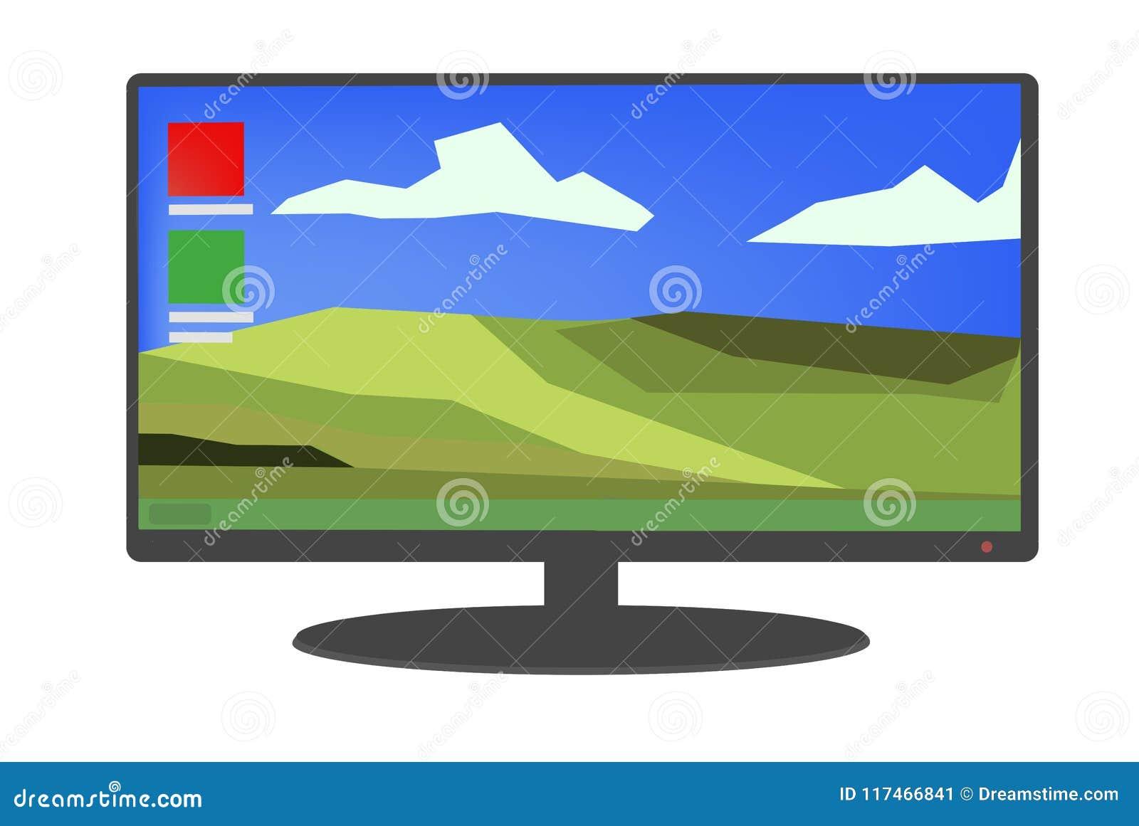 Zwarte computer/monitor met heldere Desktop en pictogrammenillustratie