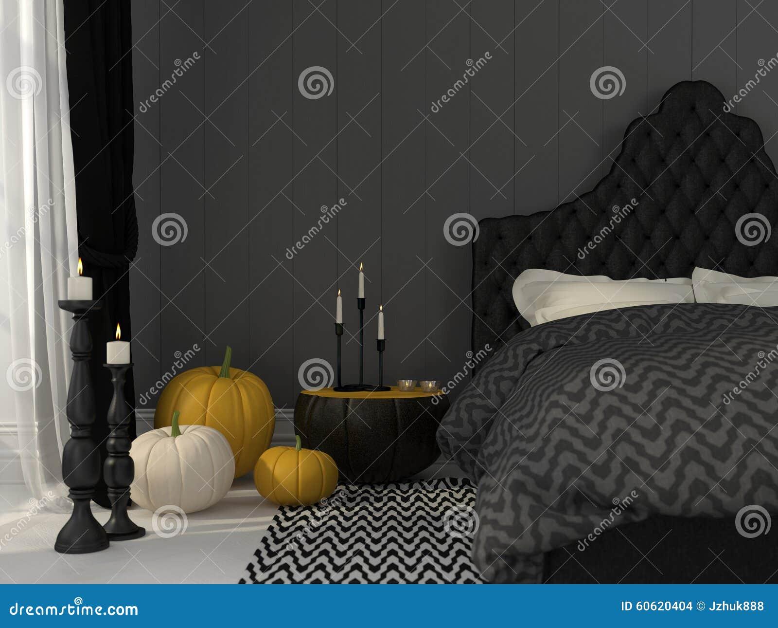 Zwarte die slaapkamer voor halloween wordt verfraaid stock foto ...