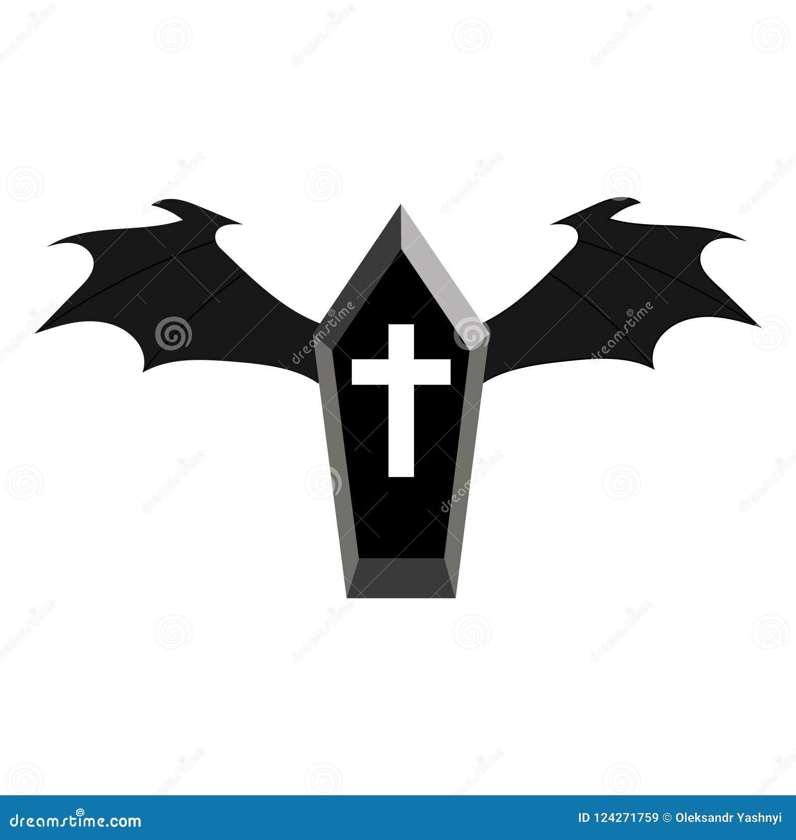Halloween Kruis.Zwarte Doodskist Met Donkere Vleugels Voor Uw Ontwerp Spel
