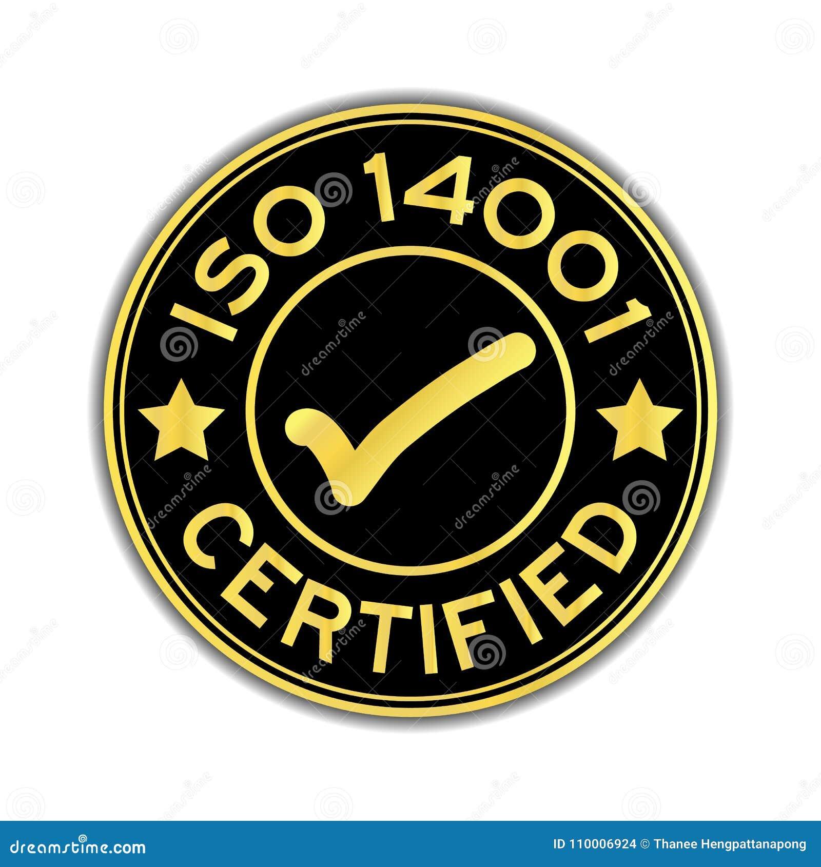 Zwarte en gouden die kleur ISO 14001 met tekenpictogram wordt verklaard om st