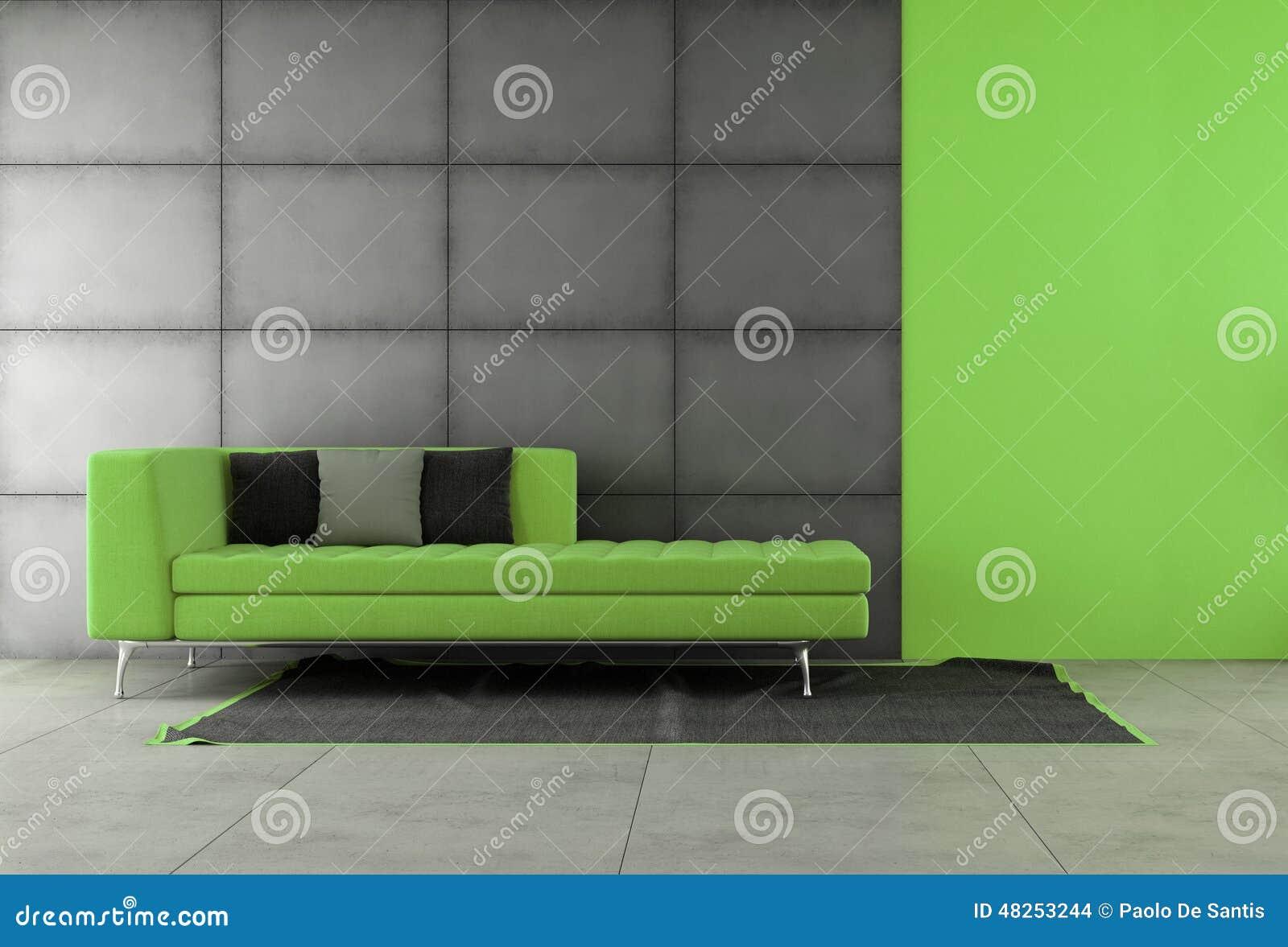 Zwarte En Groene Woonkamer Stock Illustratie - Afbeelding: 48253244