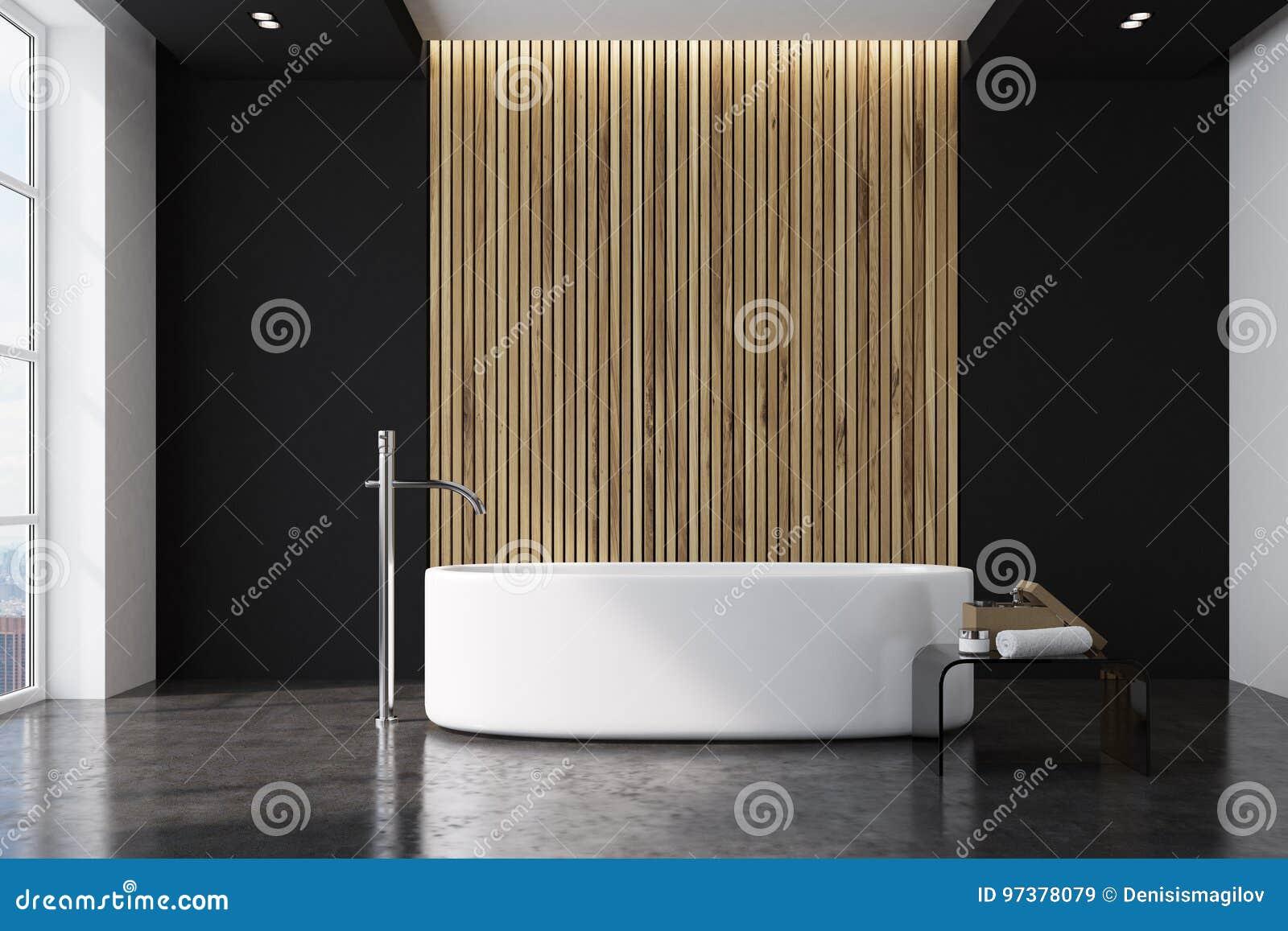 zwarte en houten badkamers ronde ton