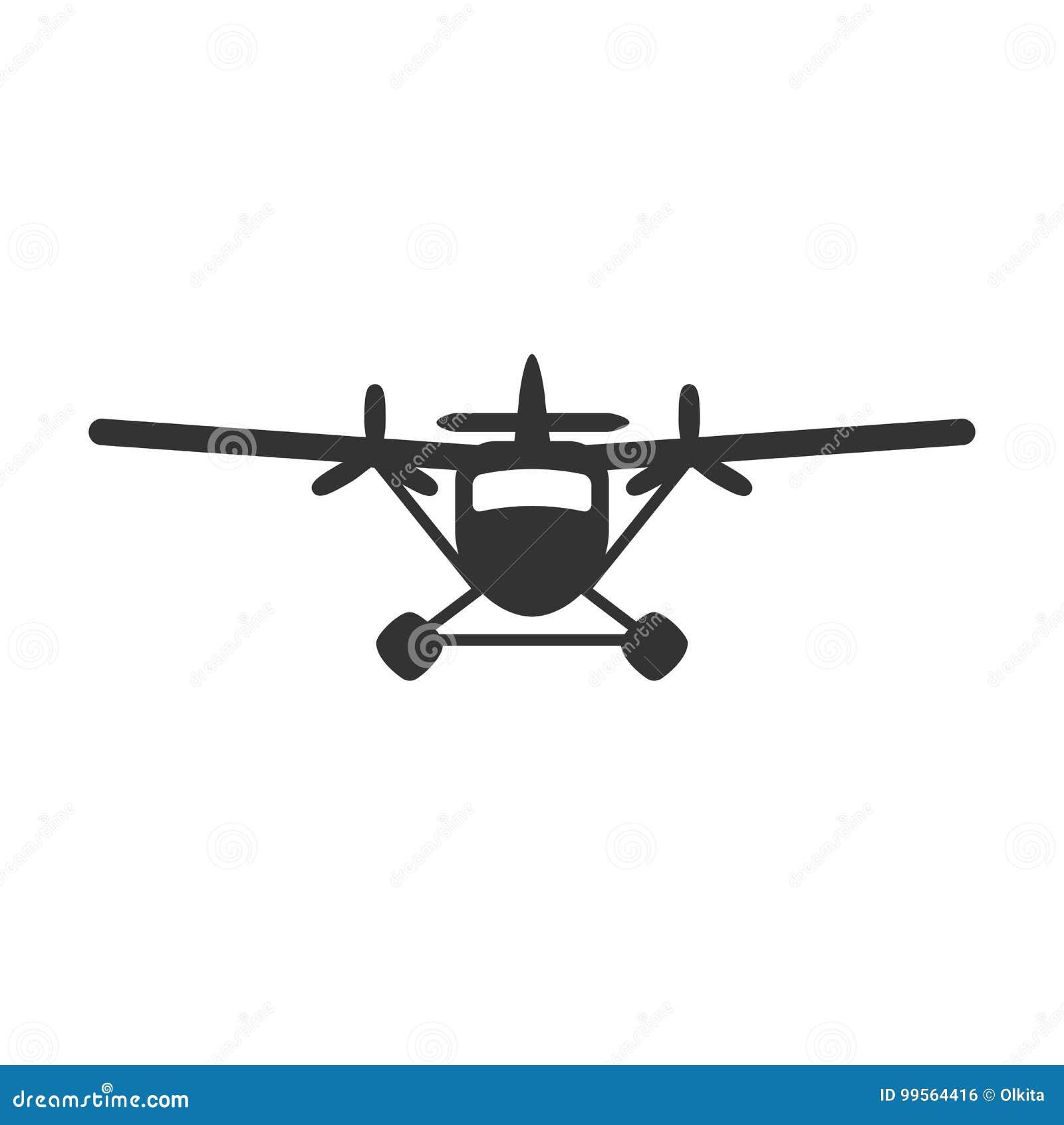 Zwarte geïsoleerd silhouet van hydroplane op witte achtergrond Pictogram van vooraanzicht van watervliegtuig