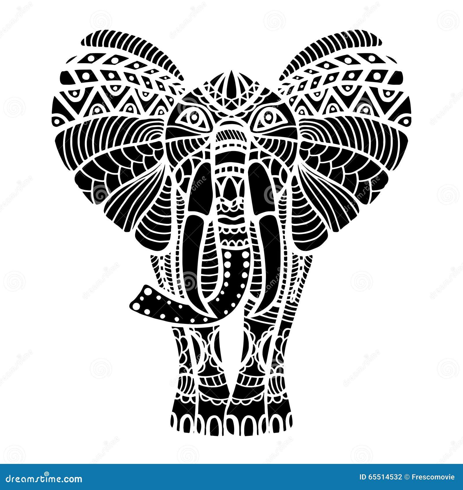 Kleurplaat Ganesh Zwarte Gestileerde Olifant Vector Illustratie Illustratie