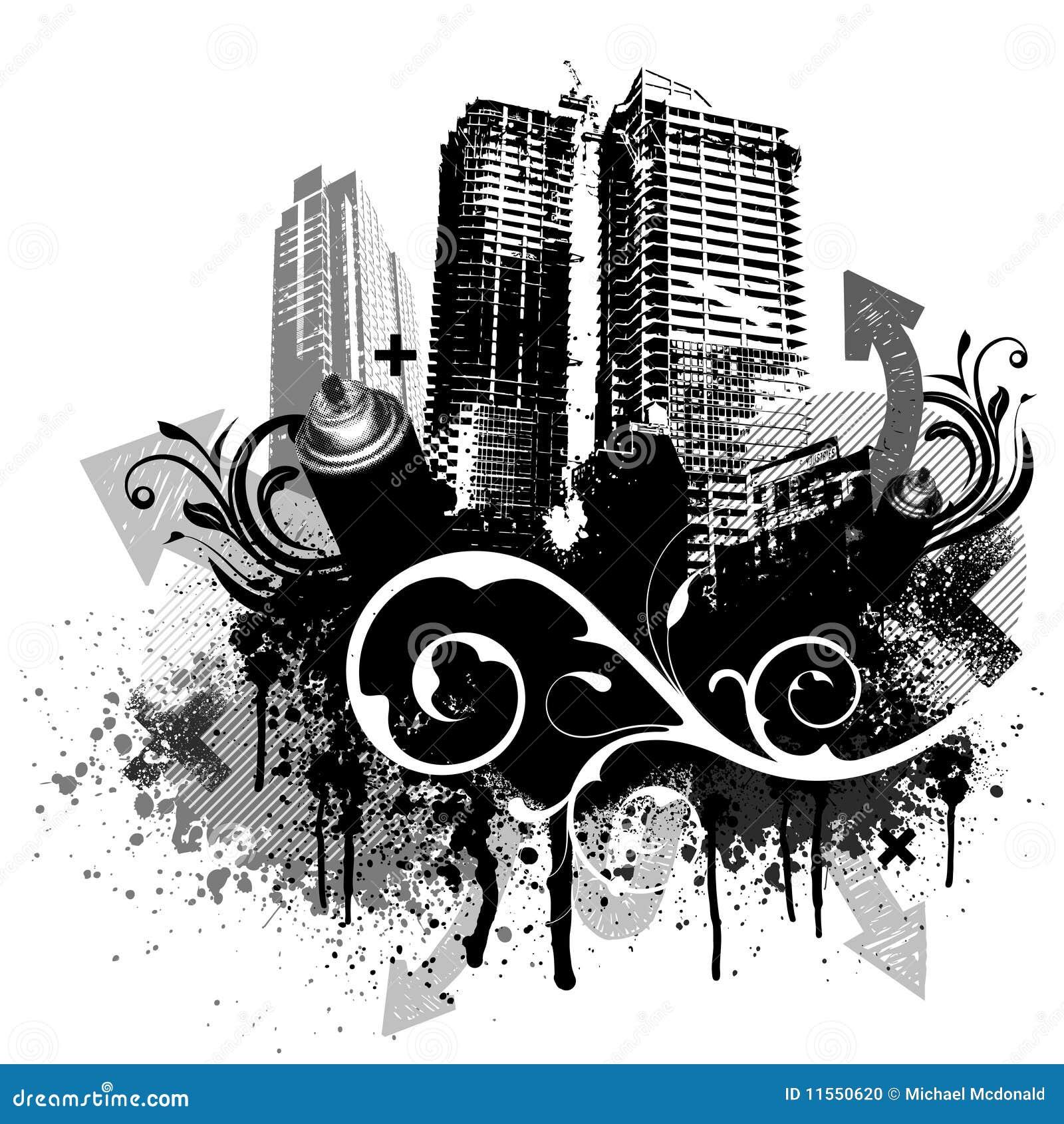 Zwarte grungestad
