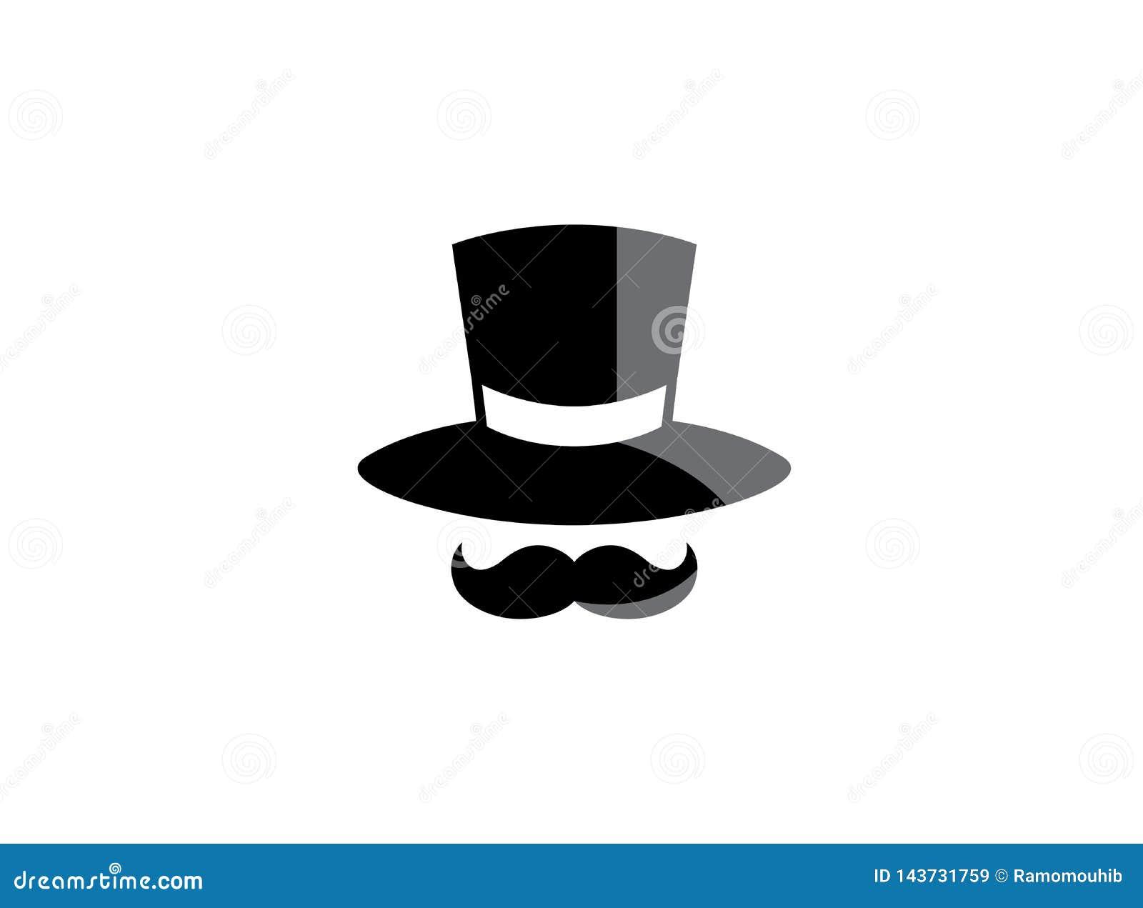 Zwarte hoed en grote snor voor de illustratie van het embleemontwerp